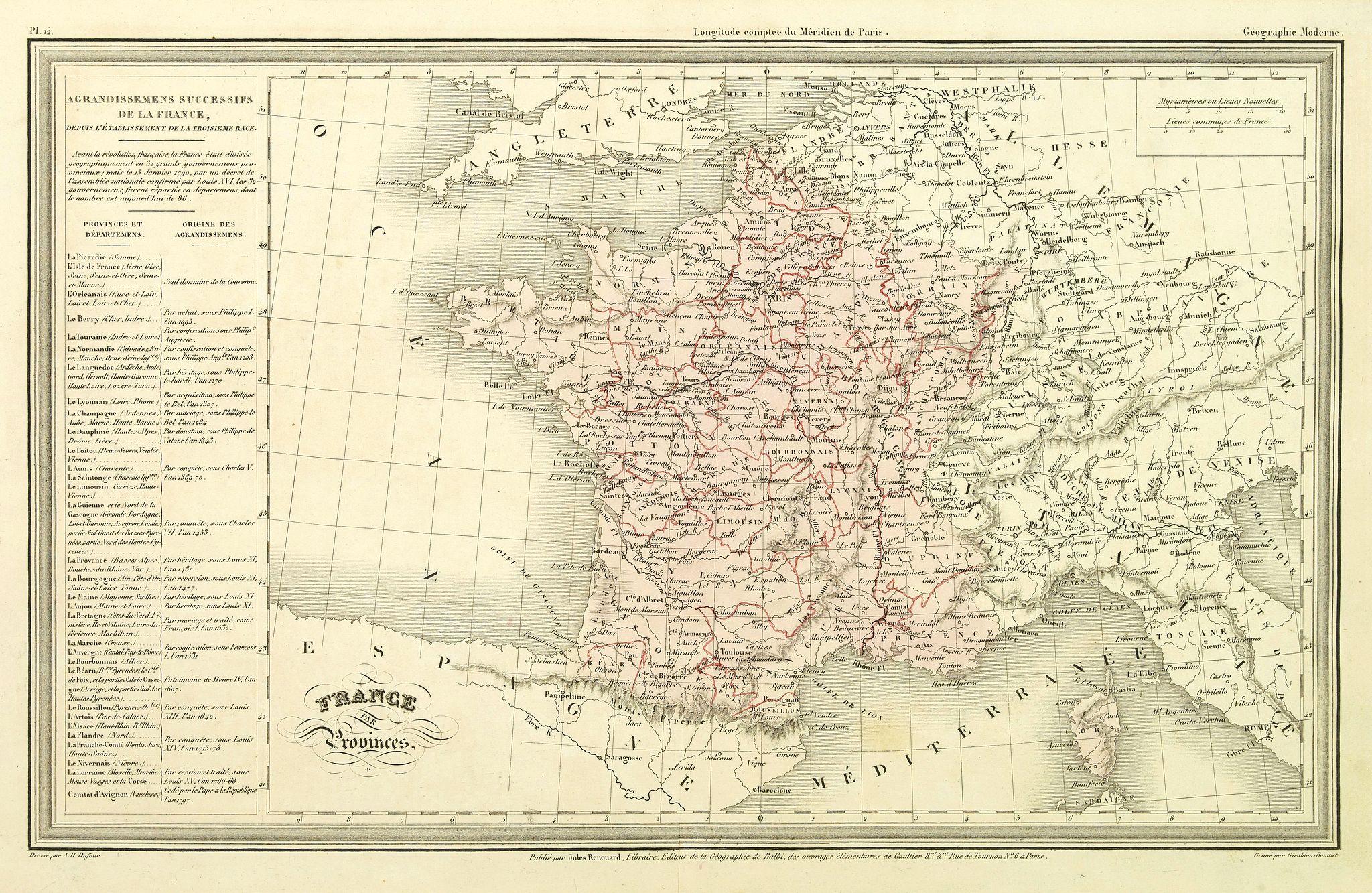 DUFOUR, A.H. -  France par Provinces.