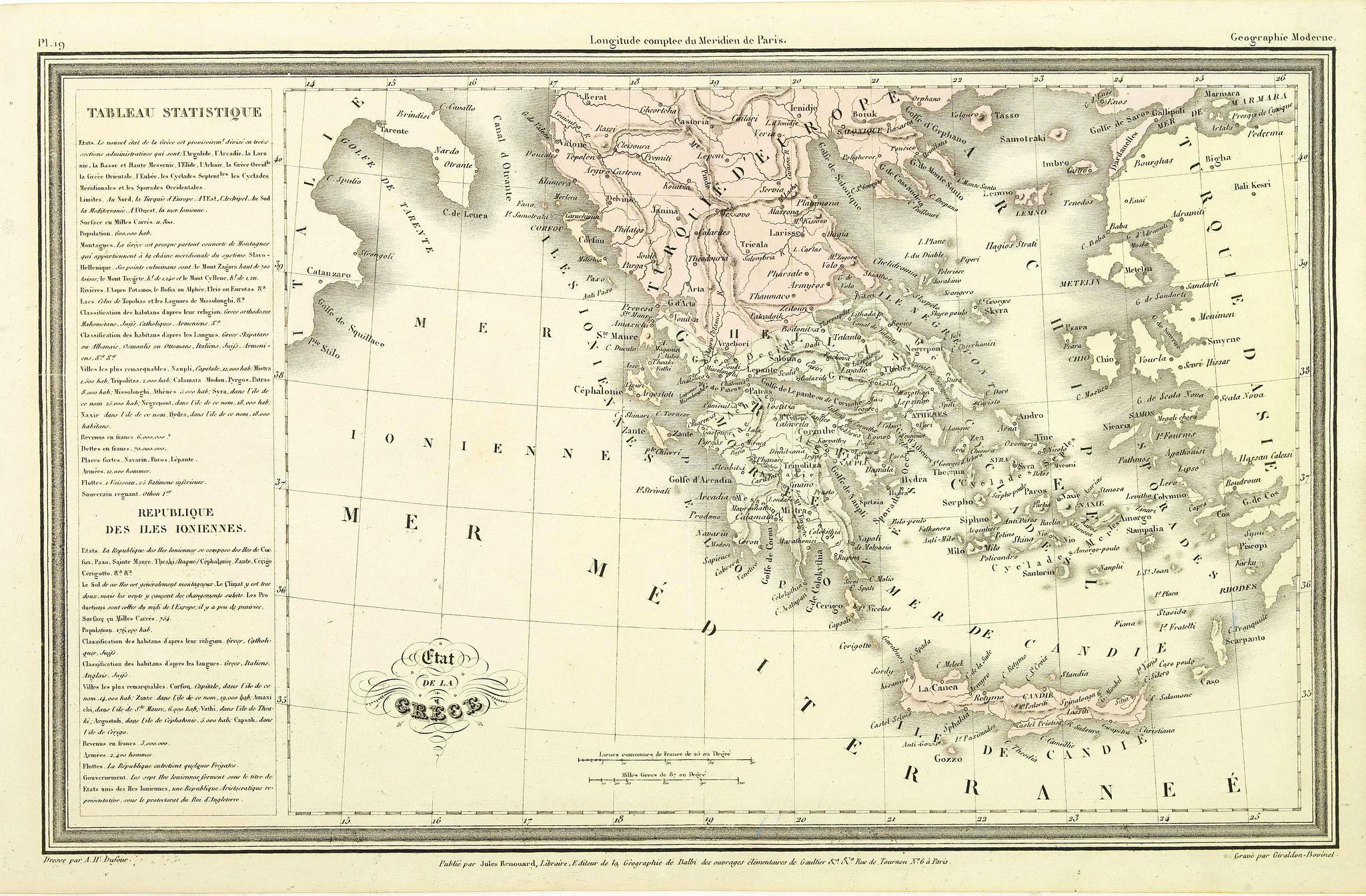 DUFOUR, A.H. -  Etat de la Grèce.