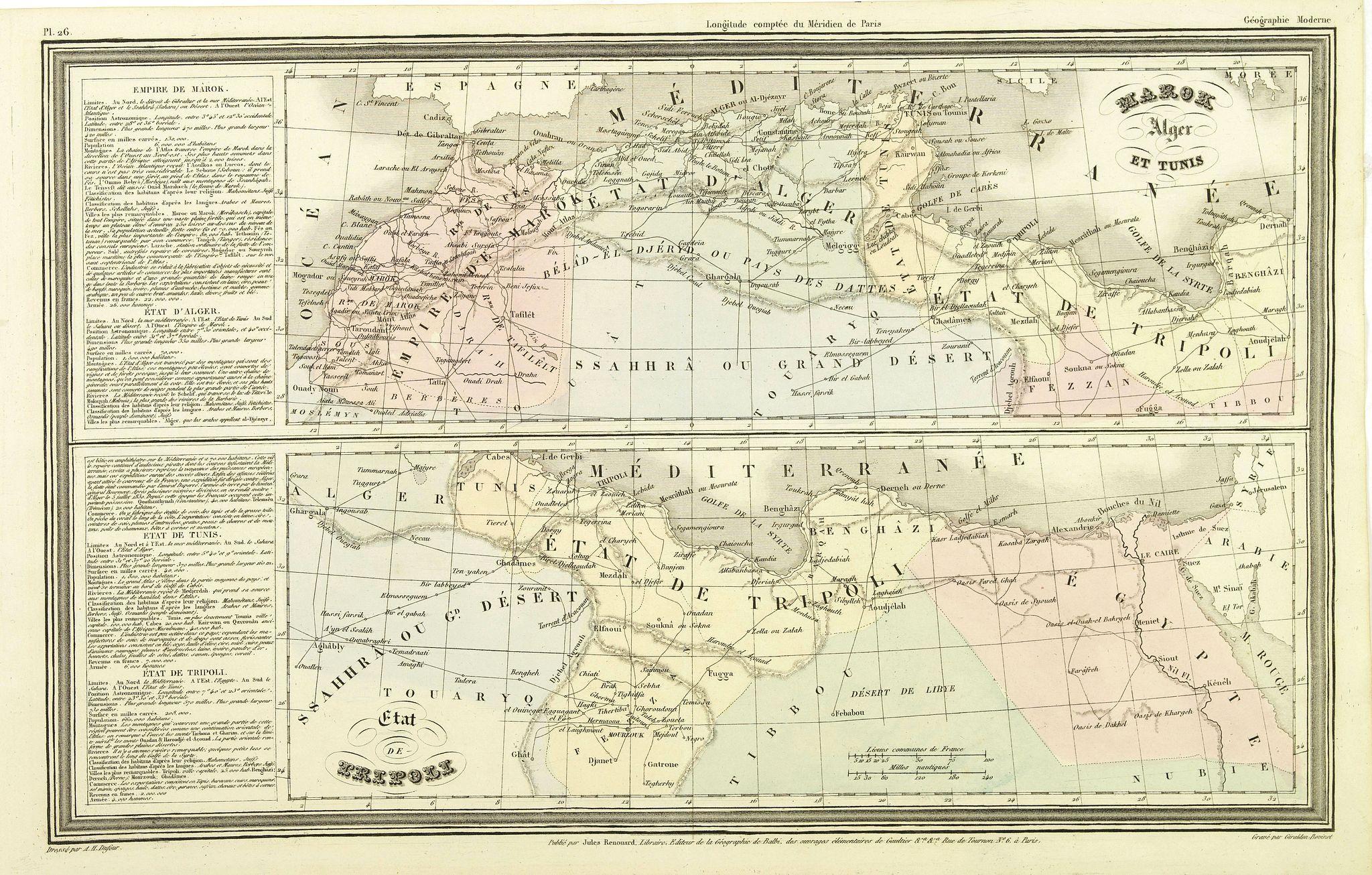 DUFOUR, A.H. -  Marok Alger et Tunis. / Etat de Tripoli.