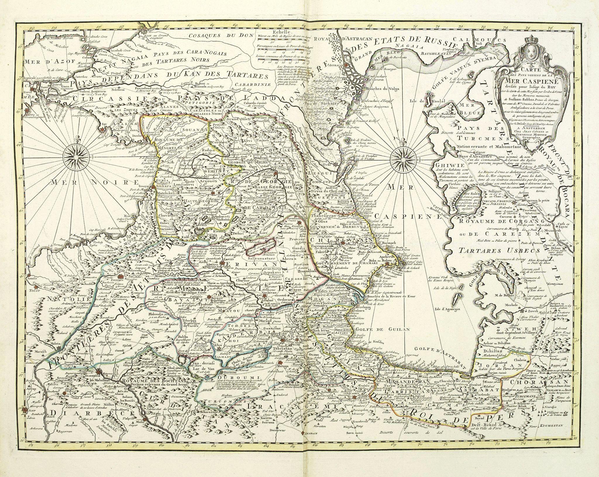 COVENS, J. / MORTIER, C. -  Carte des pays voisins de la mer Caspiene.