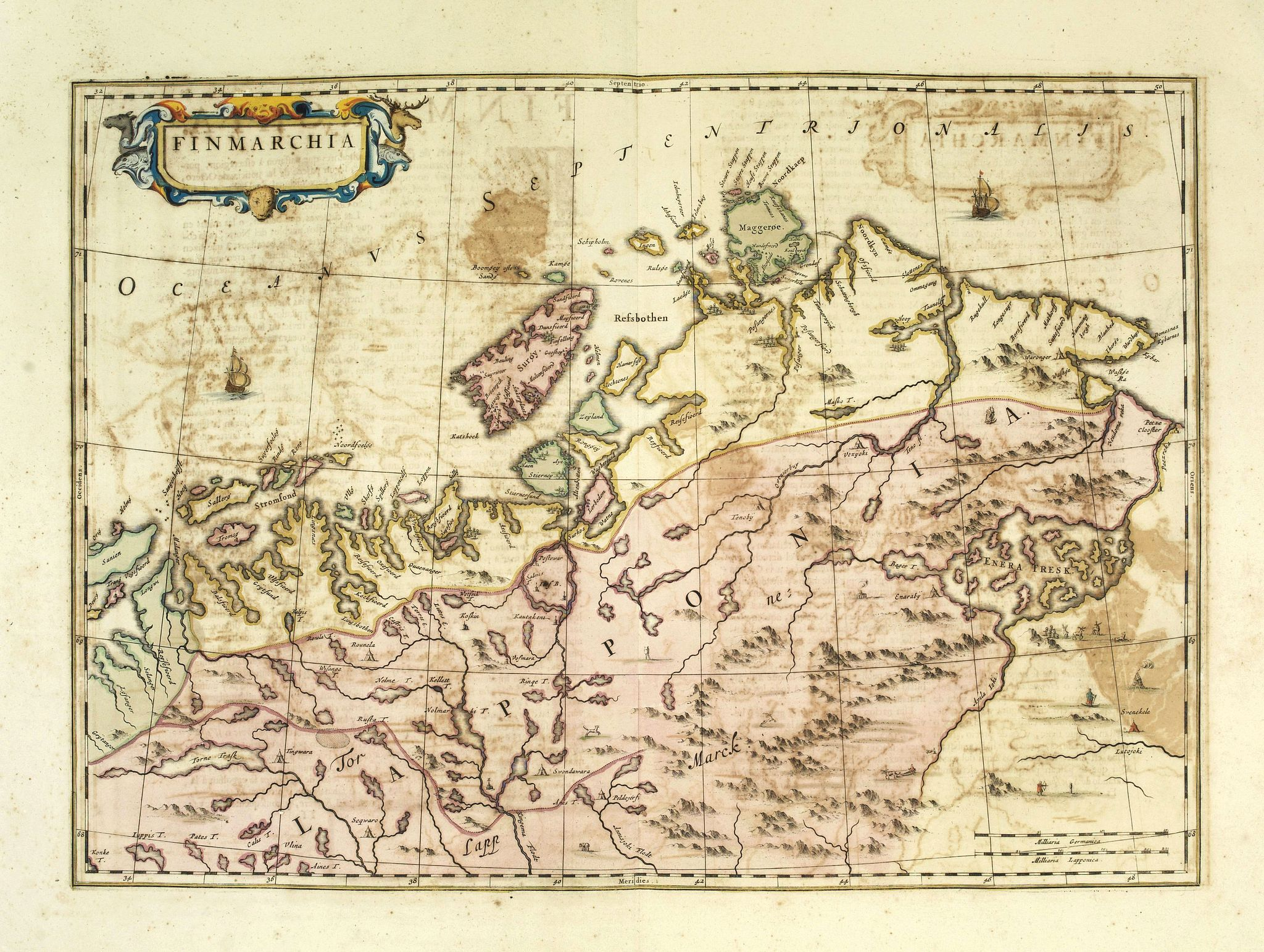 BLAEU, J.,  Finmarchia., antique map, old maps