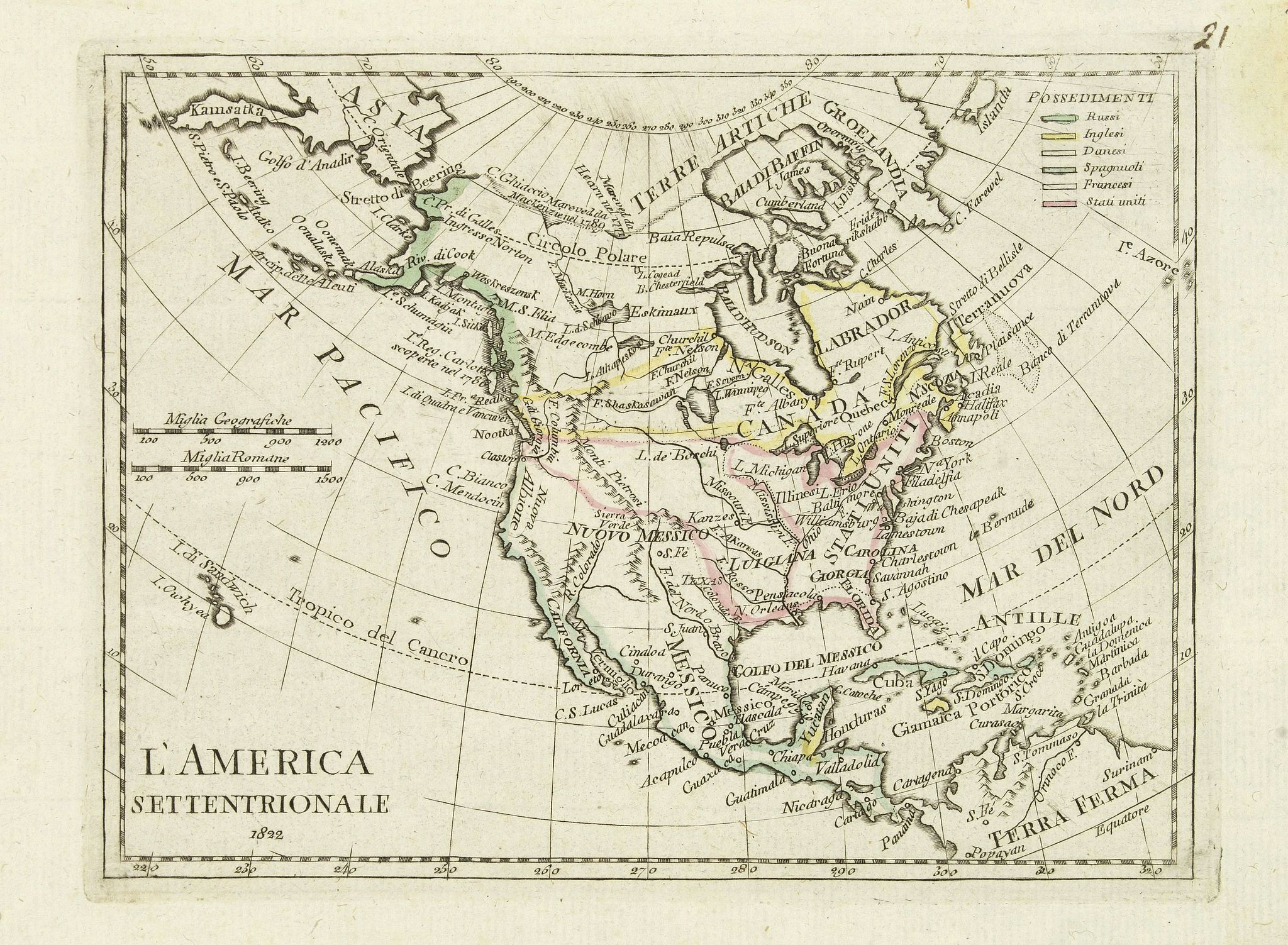 OLIVIERI -  L'America septentrionale.
