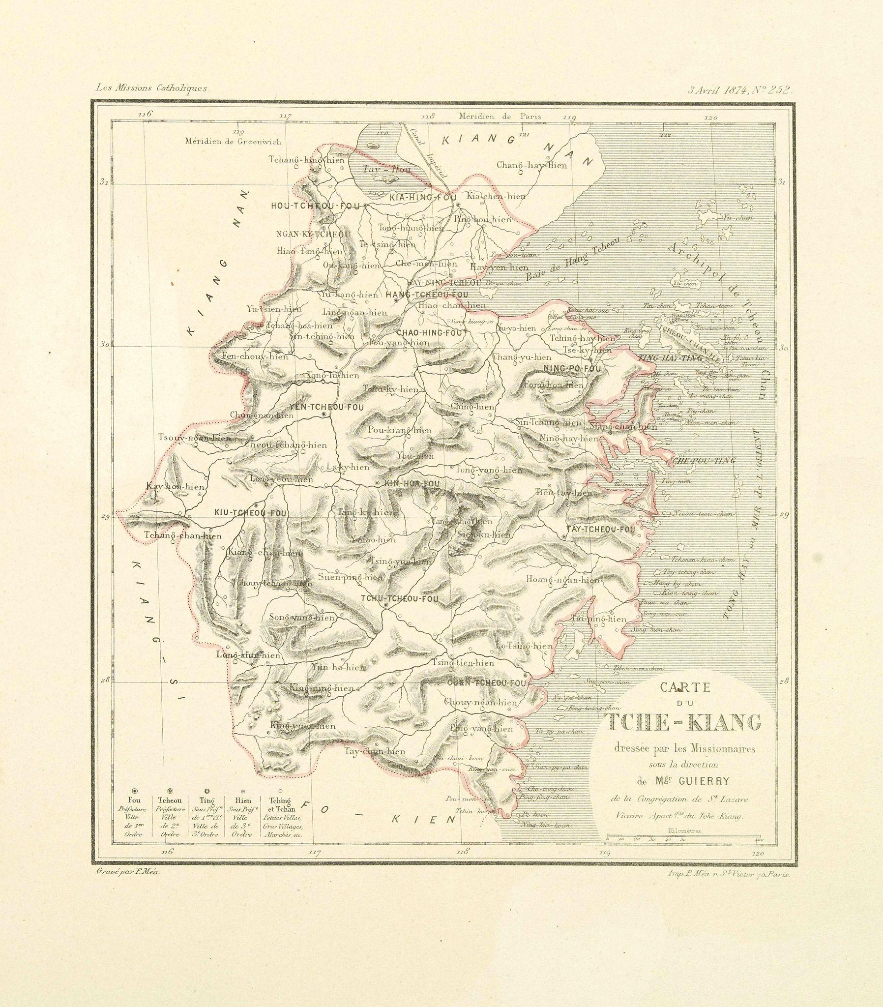 GUIERRY, Mgr. -  Carte du Tche-Kiang. [ Zhejiang province ]