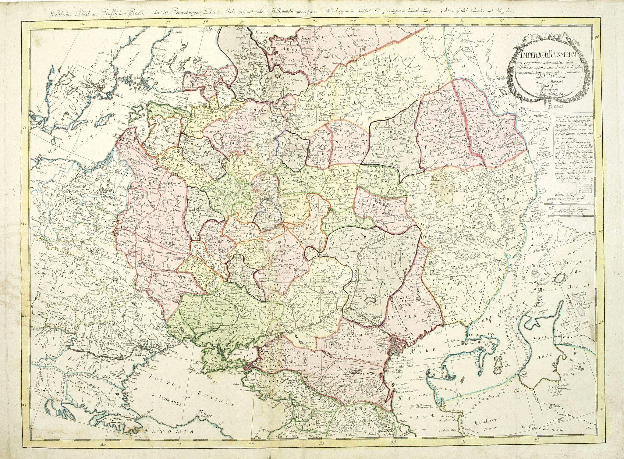 MANNERT, C. -  Imperium Russicum, cum regionibus adiacentibus duabus Tabulis ex optima quae A. 1784 tribus foliis comparavit Mappa geographica, aliisque subsidiis delineatum a C. Mannert, Tabula Ima. . .