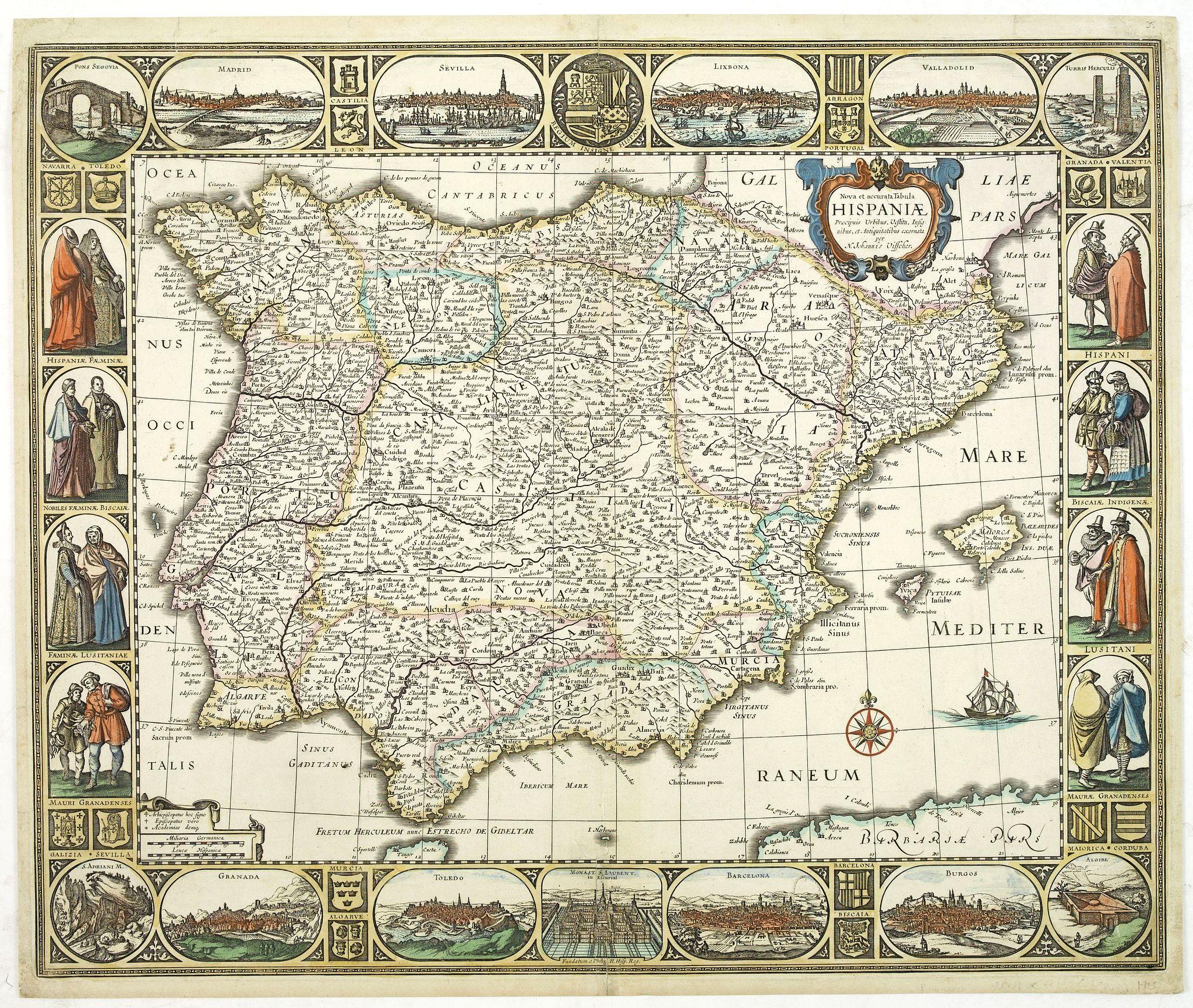 VISSCHER, C.J. -  Nova et accurata Tabula Hispaniae. . .