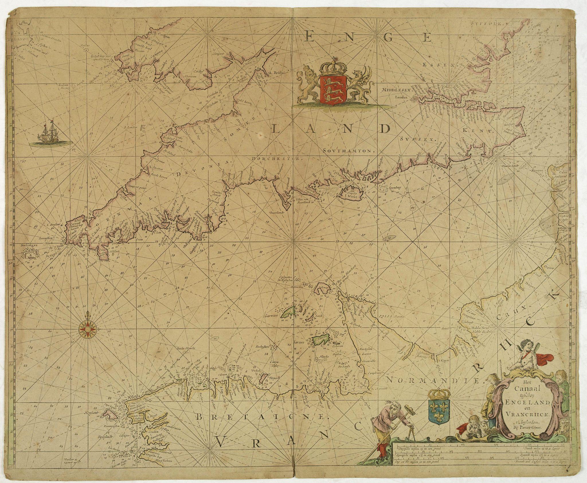 GOOS, P. -  Het Canaal tusschen Engeland en Vranciick.