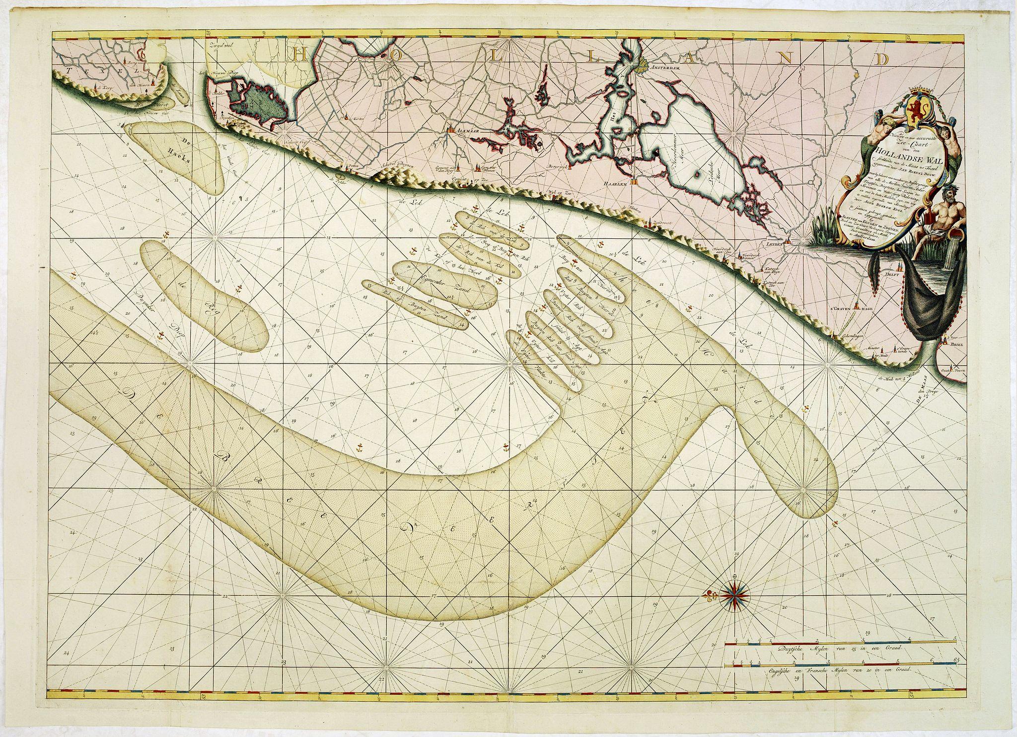 VAN KEULEN, J, -  Nieuwe en zeer accuraate Zee-Caart van de Hollandse Wal strekkende van de Maas tot Texel opgenomen door Jan Rokusz Douw, , ,
