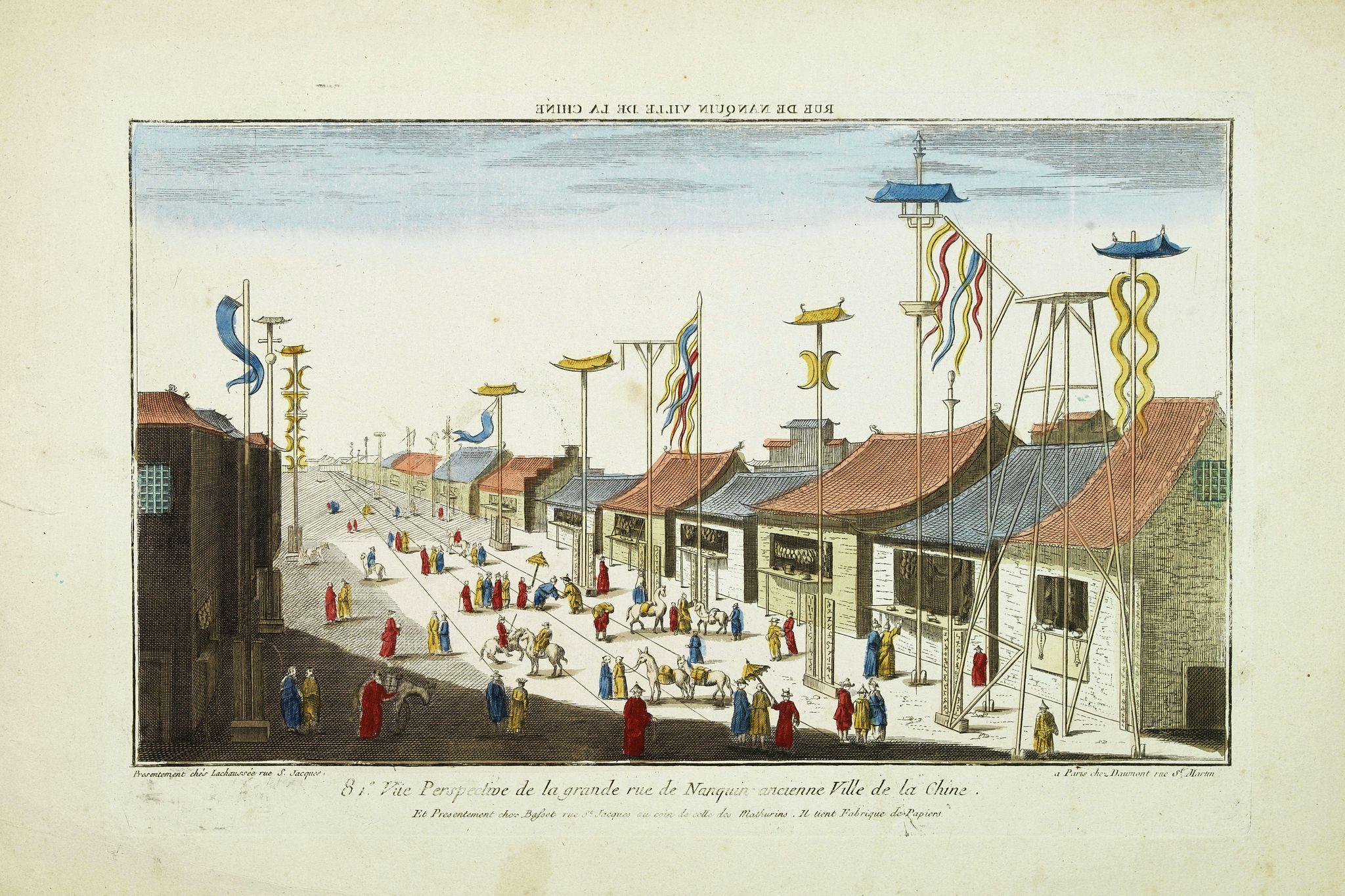 BASSET -  Vue perspective de la grande Rue de Nanquin ancienne Ville de la Chine.