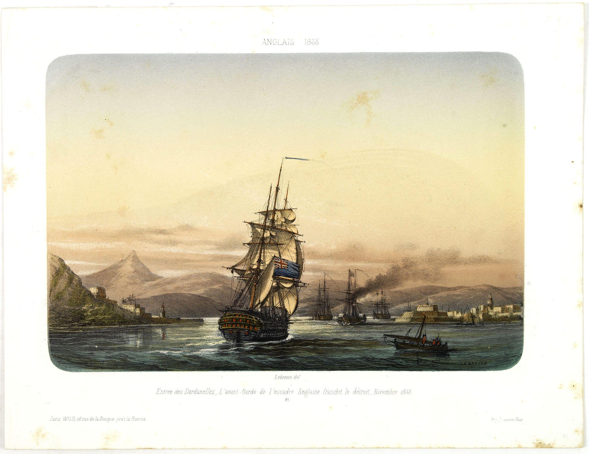 LEBRETON, L. -  ANGLAIS 1833 Entrée des Dardanelles, L