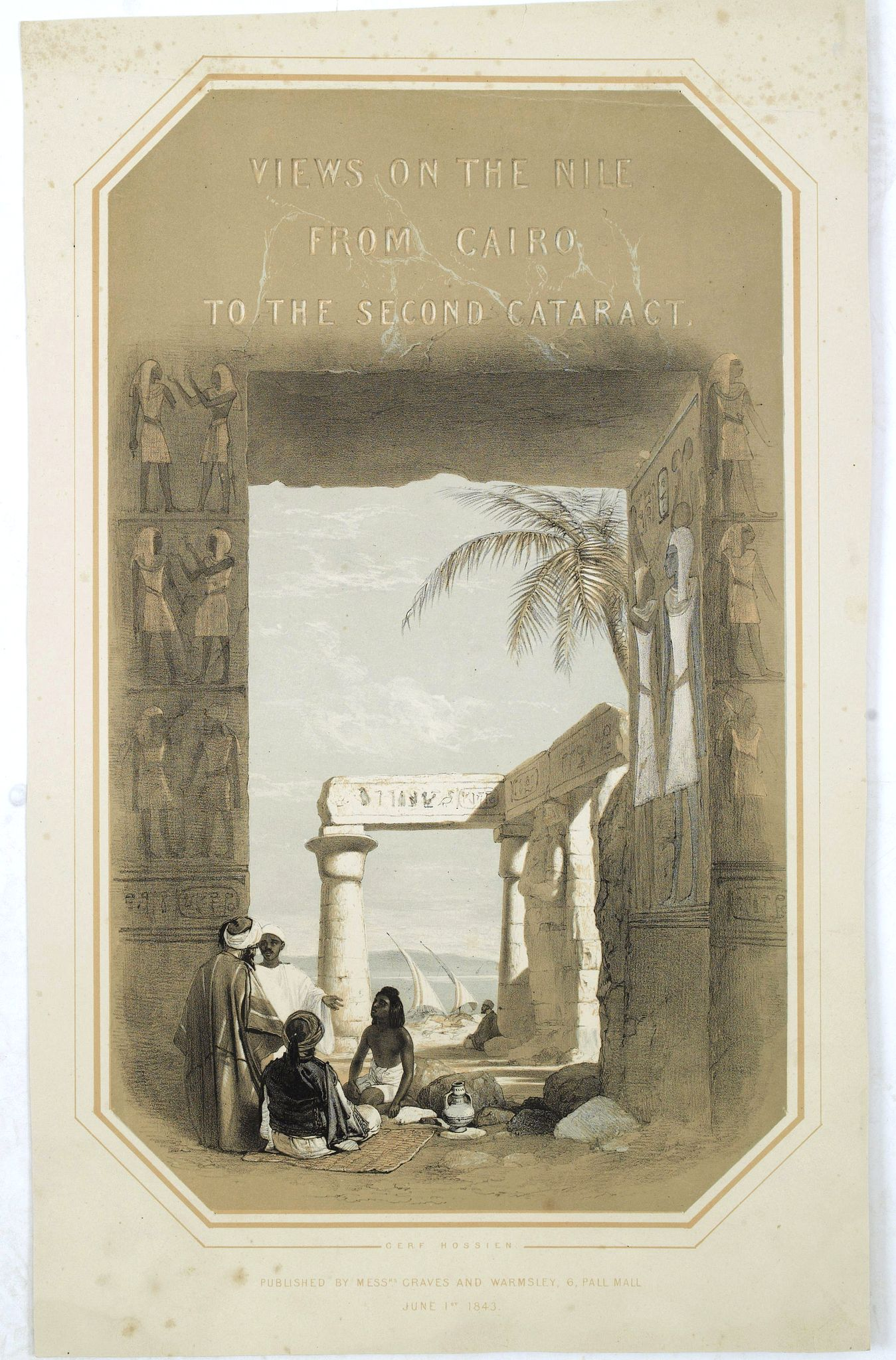 JONES, O.,  (Title page) Views on the Nile from Cairo to the second cataract., antique map, old maps