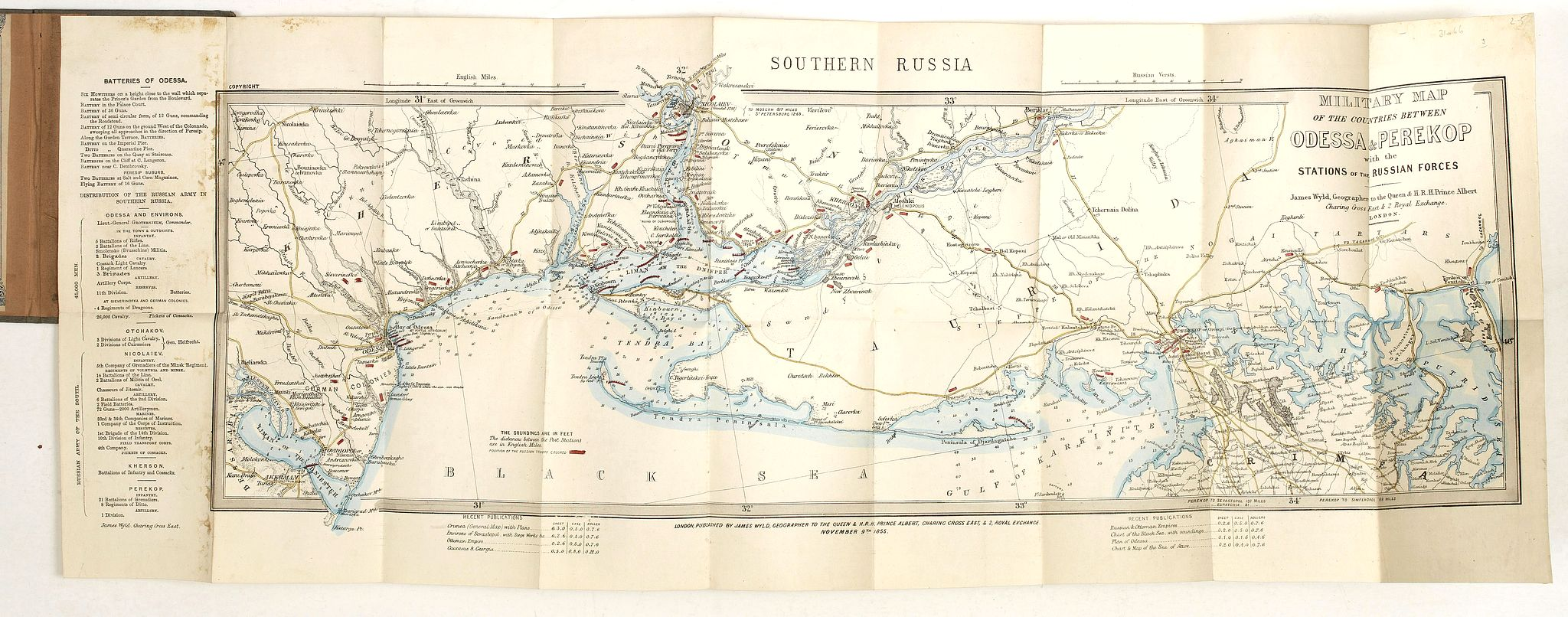 WYLD, J. -  Military map of the countries between Odessa & Perekop with the stations of the Russian forces.
