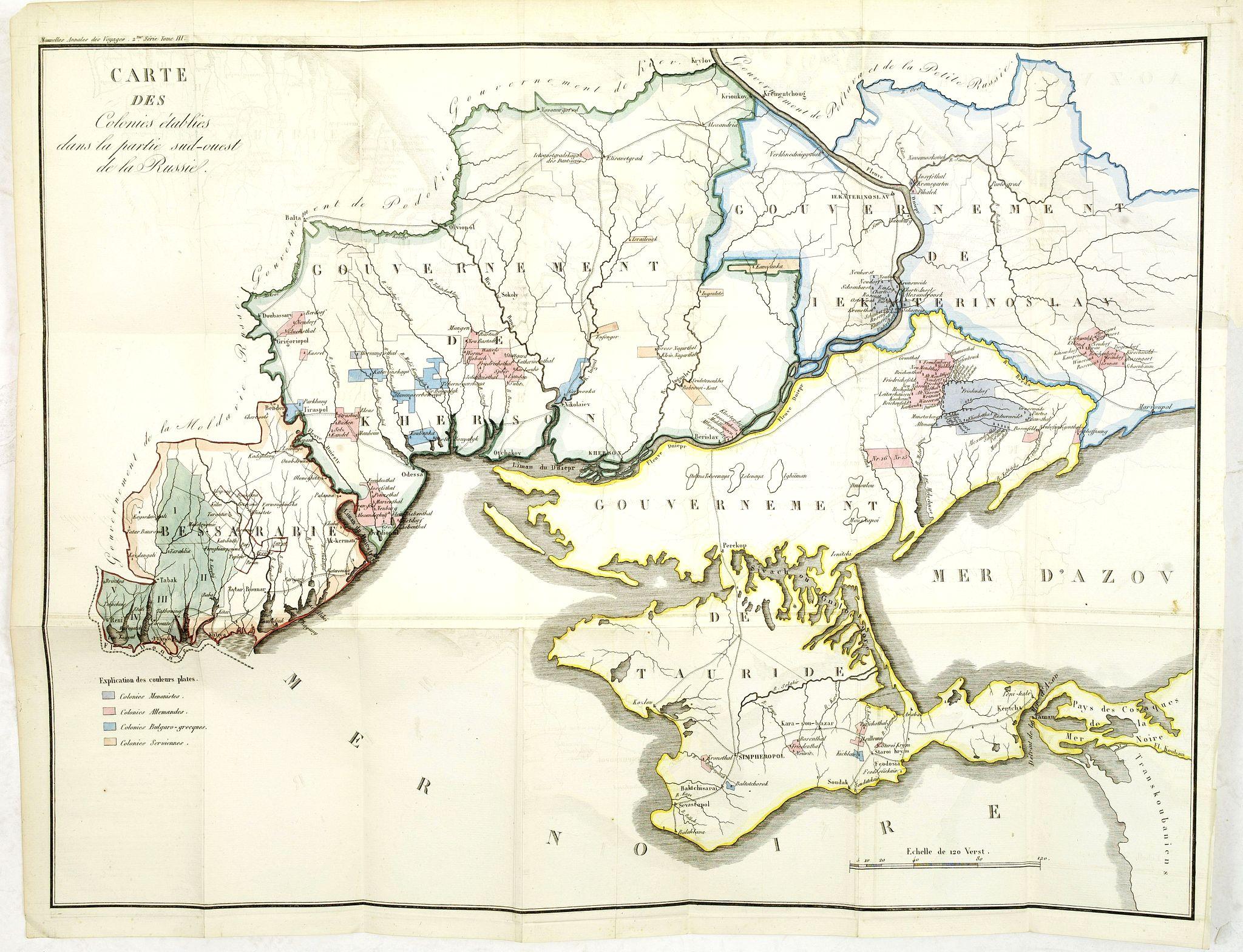 MALTE-BRUN. -  Carte des Colonies établies dans la partie Sud-Ouest de la Russie.