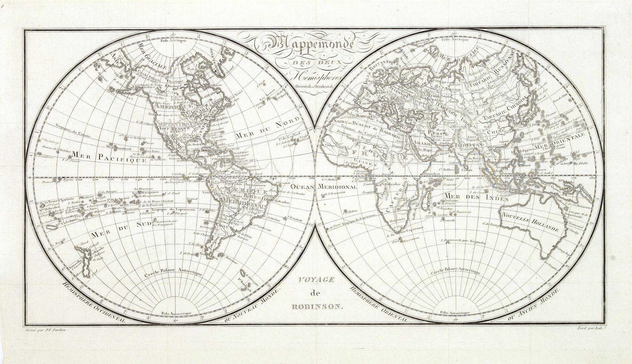 TARDIEU, P-F. - Mappemonde des deux hémispheres. . .
