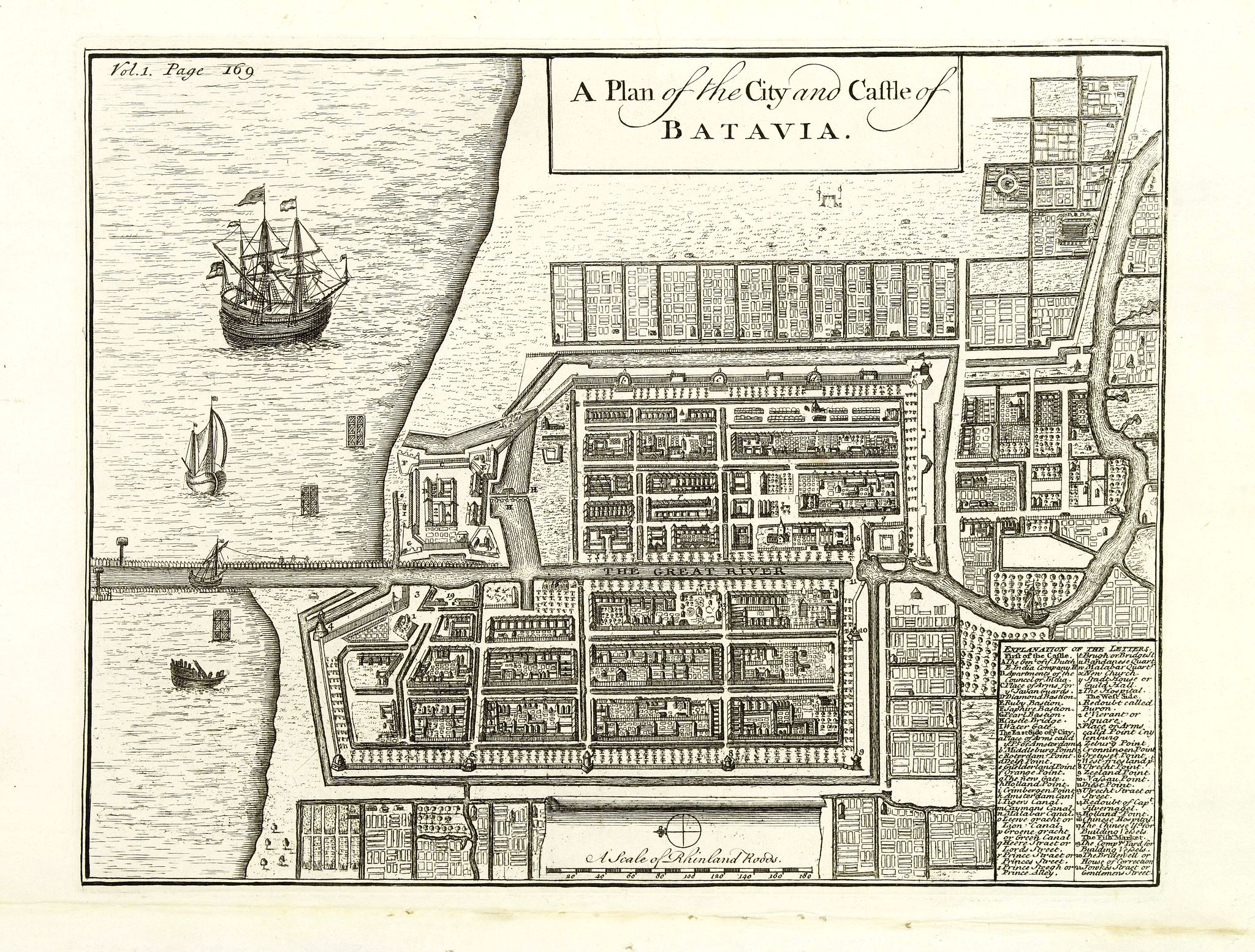 MOLL, H. - A Plan of the City and Castle of Batavia.