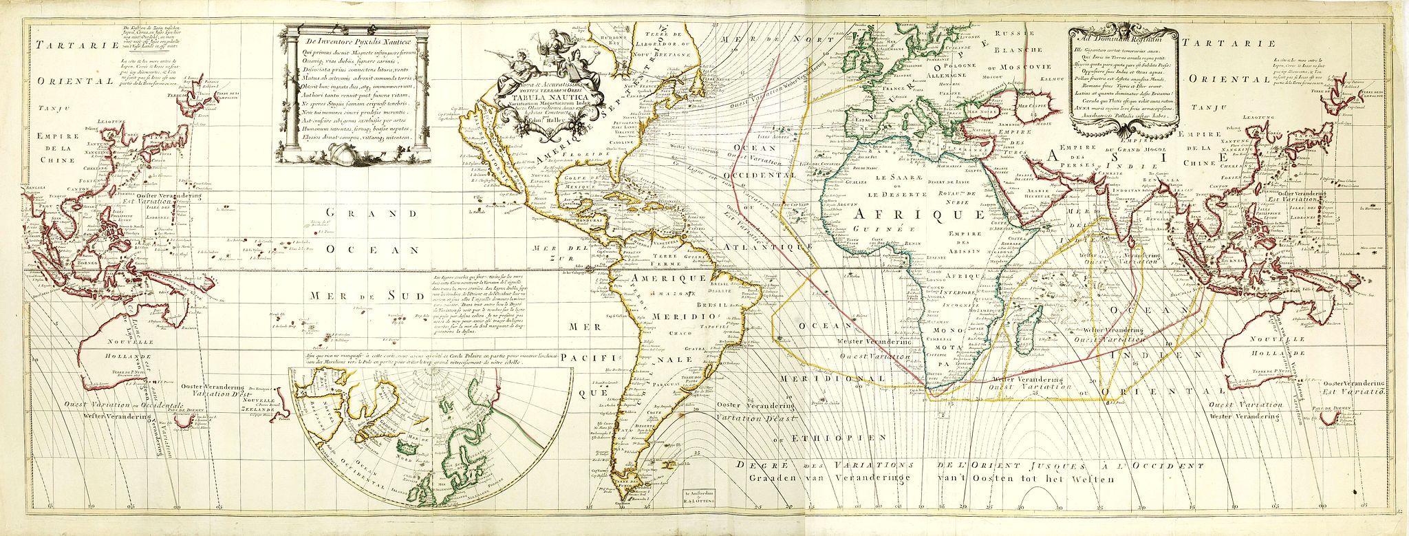 HALLEY,E. / OTTENS, J. & R. -  Nova & Accuratismia Totius Terrarum Tabula Nautica Variationum Magneticarum Index Juxta Obserations Anno 1706 habitas Constructa per Edm. Halley.