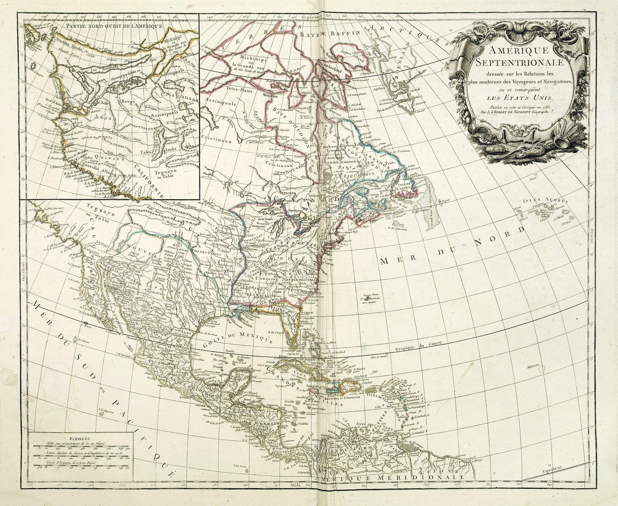 VAUGONDY, R. de -  AMERIQUE SEPTENTRIONALE dressée sur les Relations les plus modernes des Voyageurs et Navigateurs ou se remarquent LES ETATS UNIS. . .