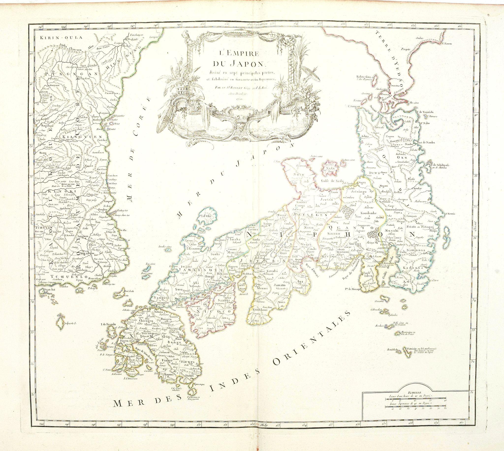 VAUGONDY, R. de -  L'Empire du Japon divisé en sept principales parties. . .