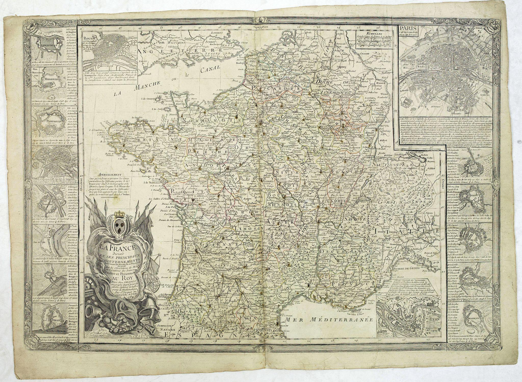 DESNOS -  La France, divisée en ses principaux gouvernements. Avec toutes les Routes de ce Royaume. . .