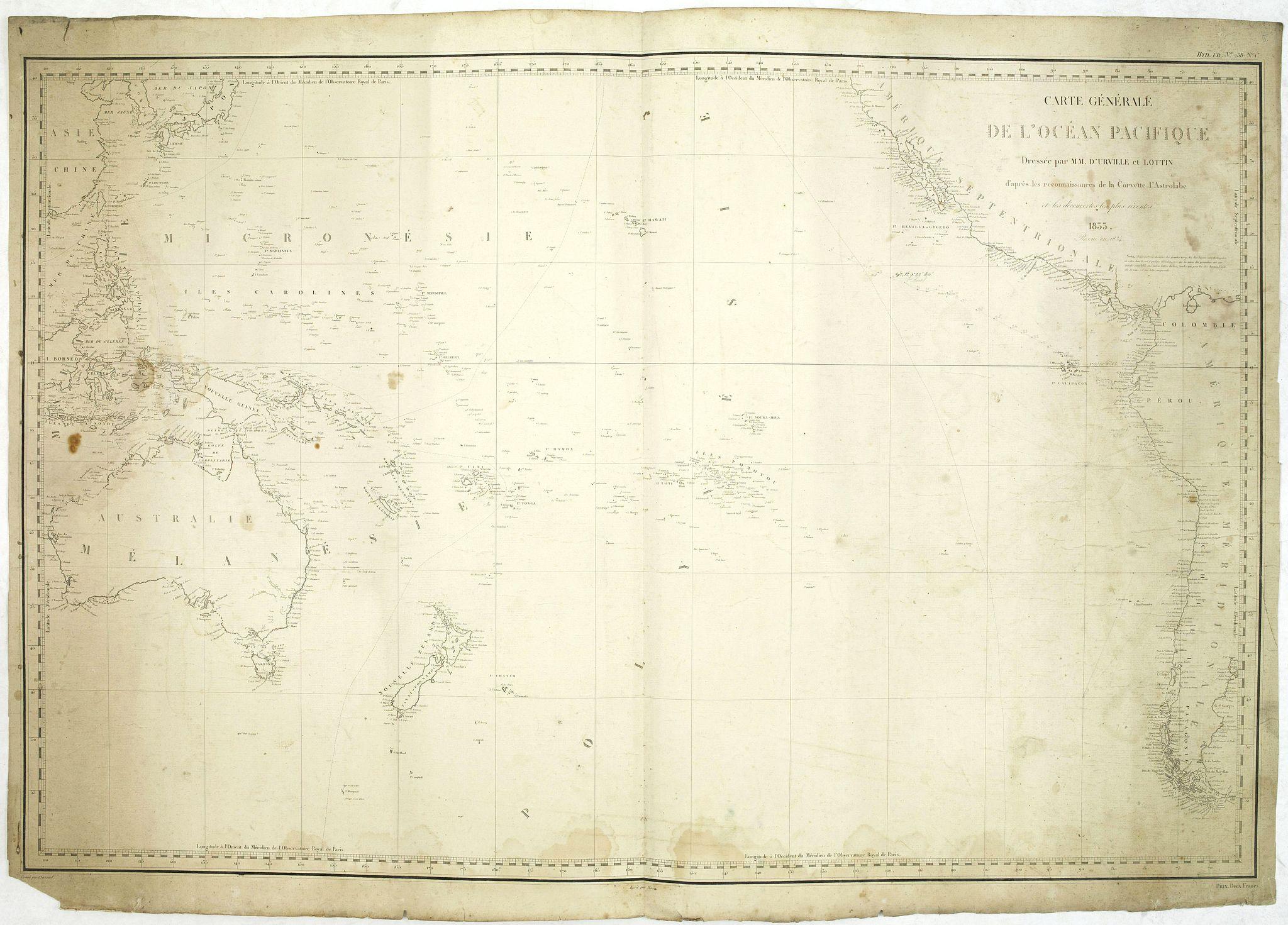 URVILLE, d',. / LOTTIN. -  Carte générale de l'océan pacifique. . .