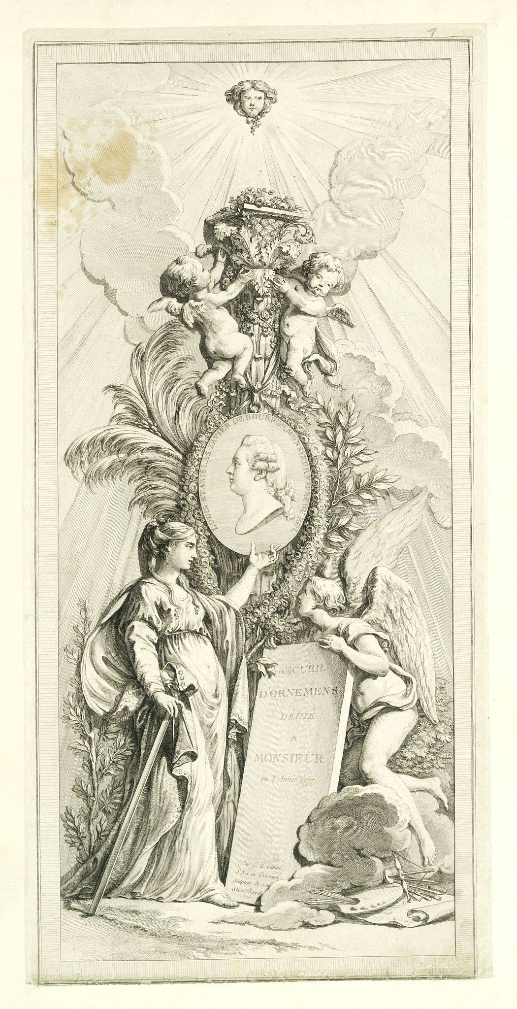 CAUPER, G-P. -  (Title page) Recueil d'ornemen dédié a Monsieur en l'année 1777.