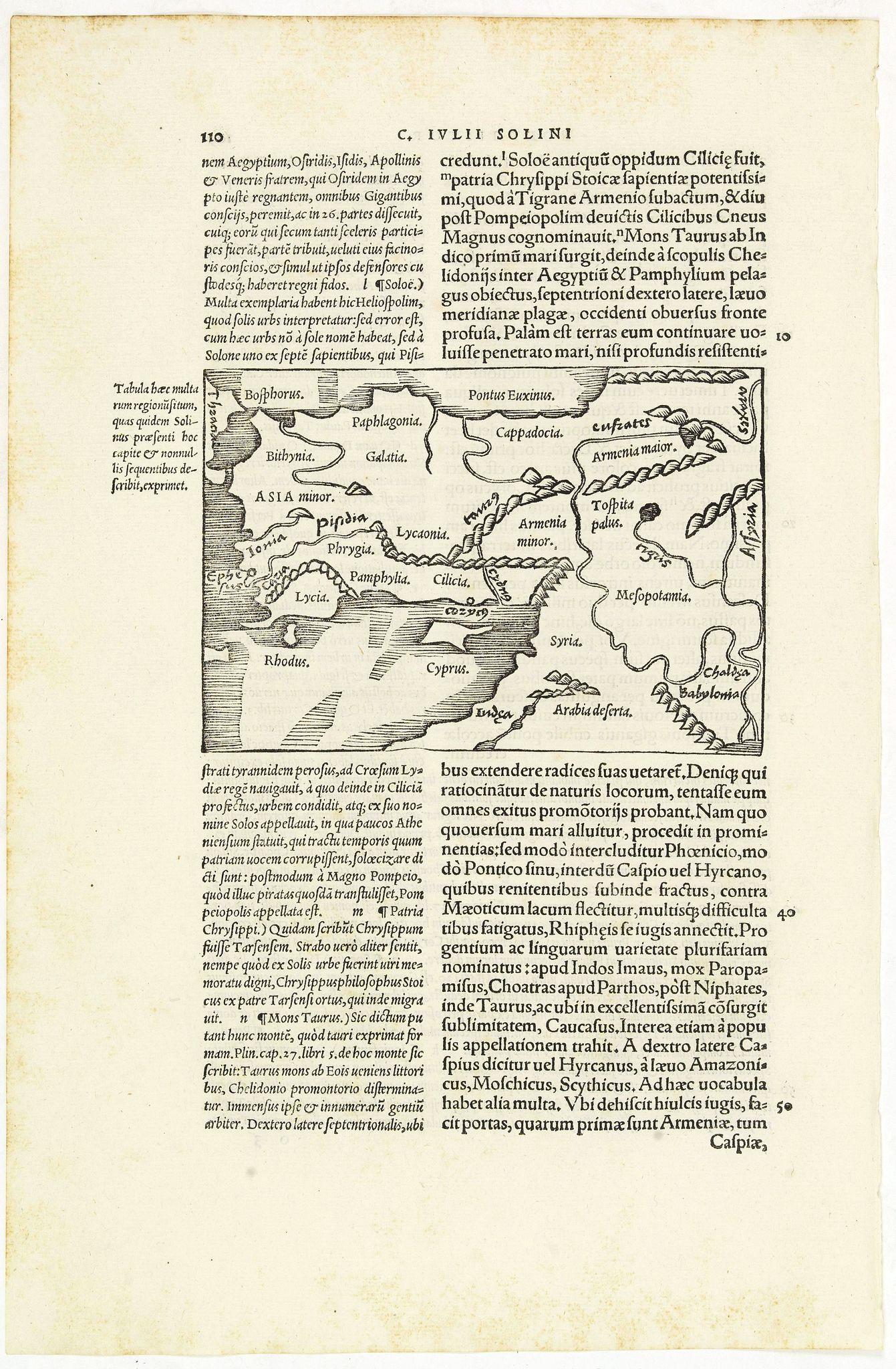 MELA, P. / SOLINUS, G.J. -  [Map of Turkey]