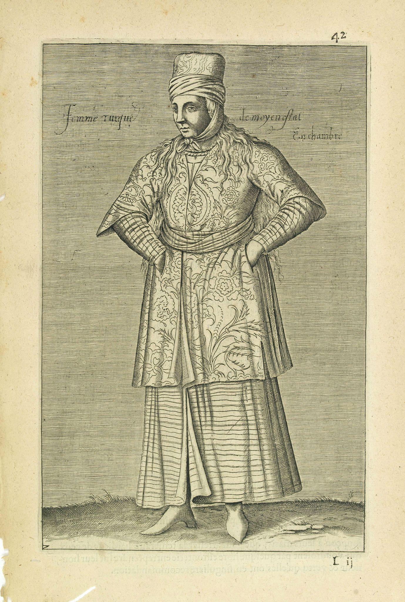 NICOLAS DE NICOLAY, Thomas Artus (sieur d'Embry). -  Femme Turque de moyen estat En chambre. (42)