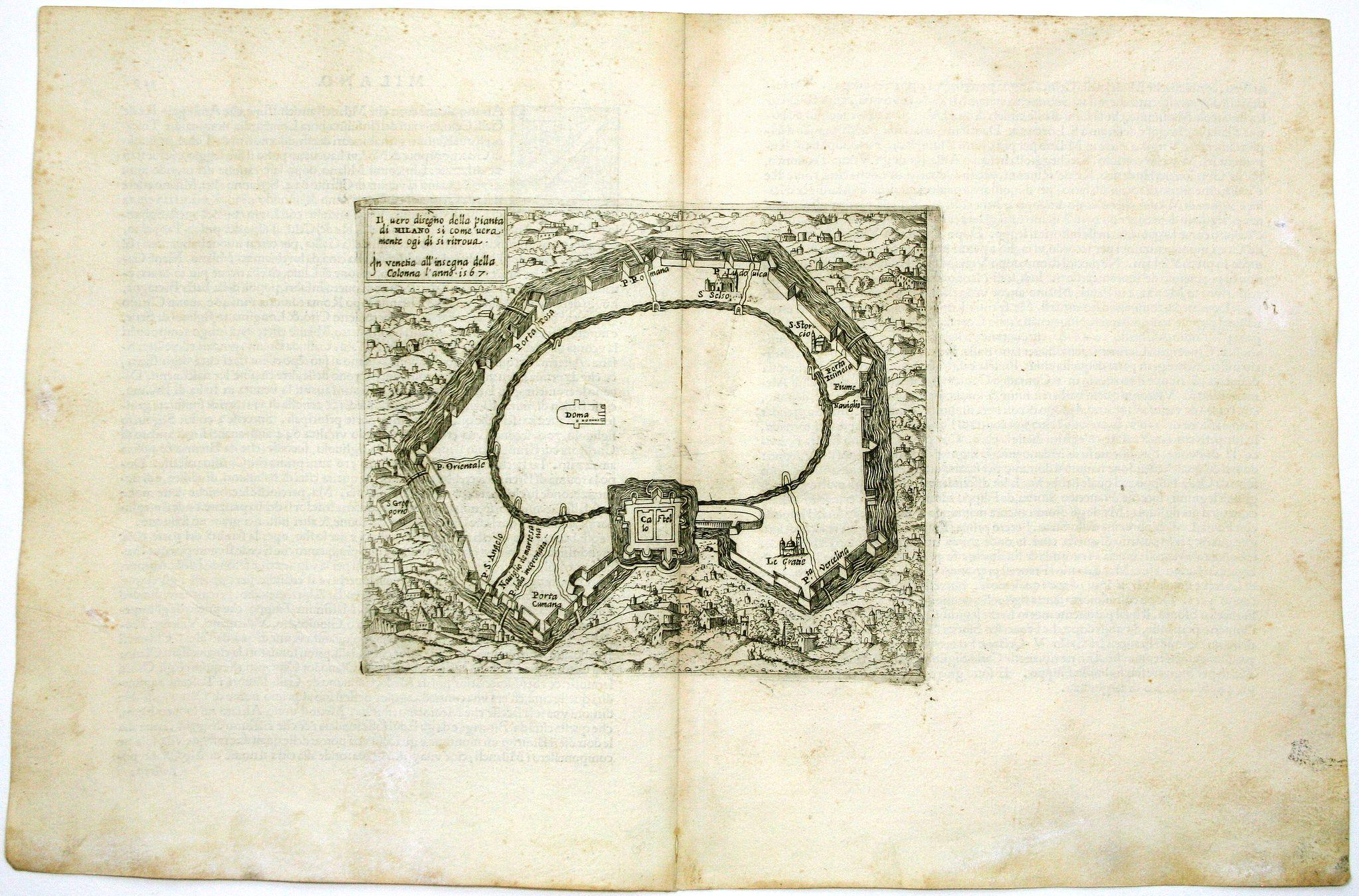 FORLANI, P. / BALLINO, G. -  Il vero disegno della pianta di Milano si come veramente oggi di' si ritrova 1567.