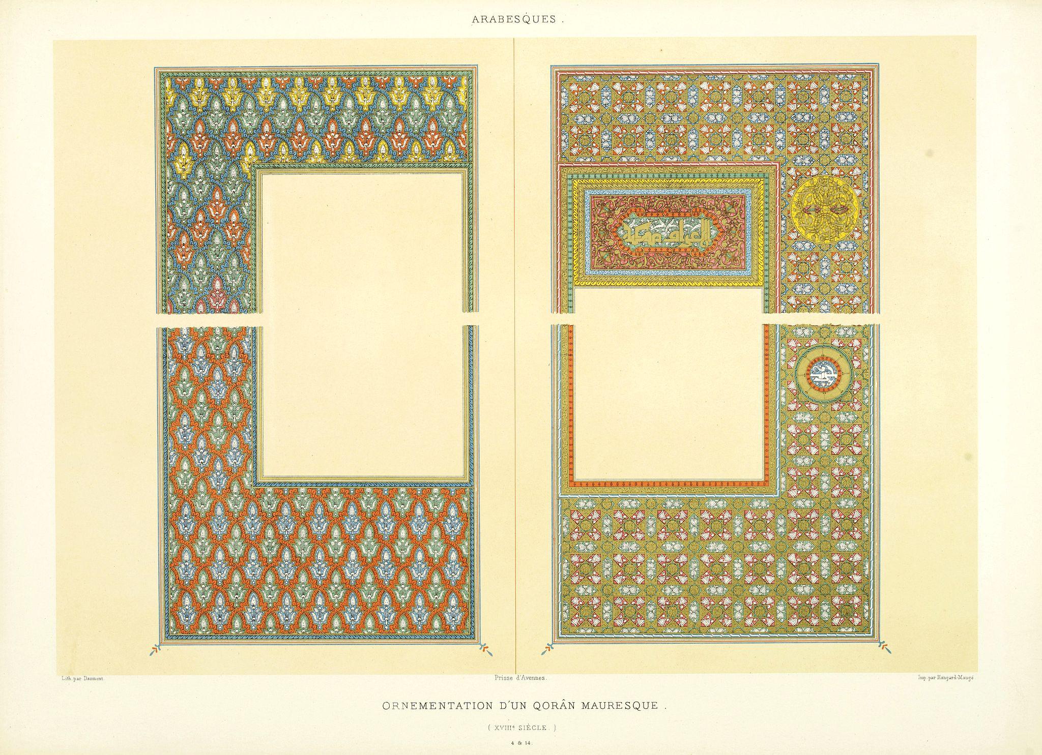 PRISSE D'AVENNES, E. -  Arabesques. - Ornementation d'un Qoran Mauresque (XVIIIe siècle)
