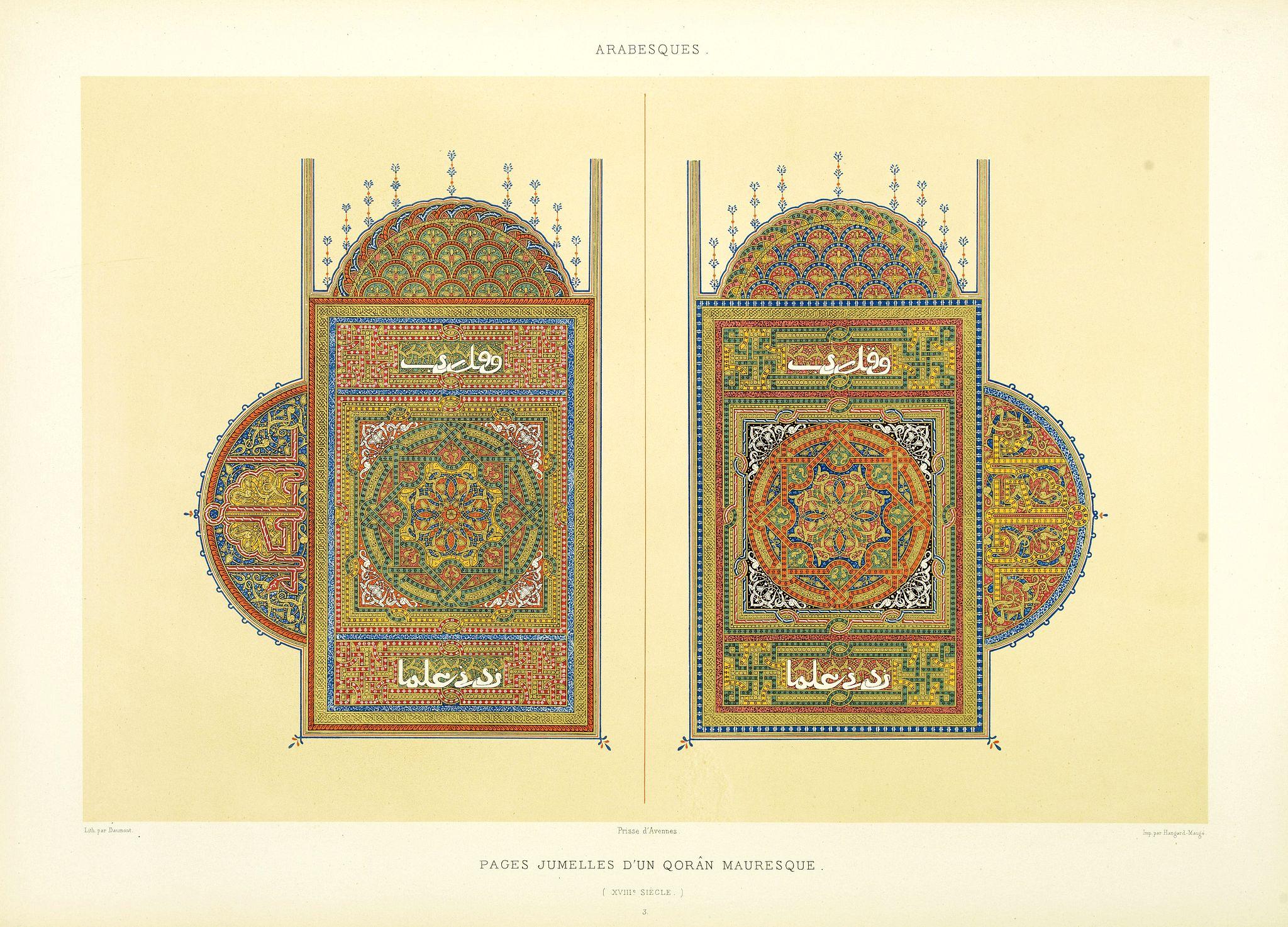 PRISSE D'AVENNES, E. -  Arabesques. - Pages jumelles d'un qorân mauresque. (XVIIIe siècle)