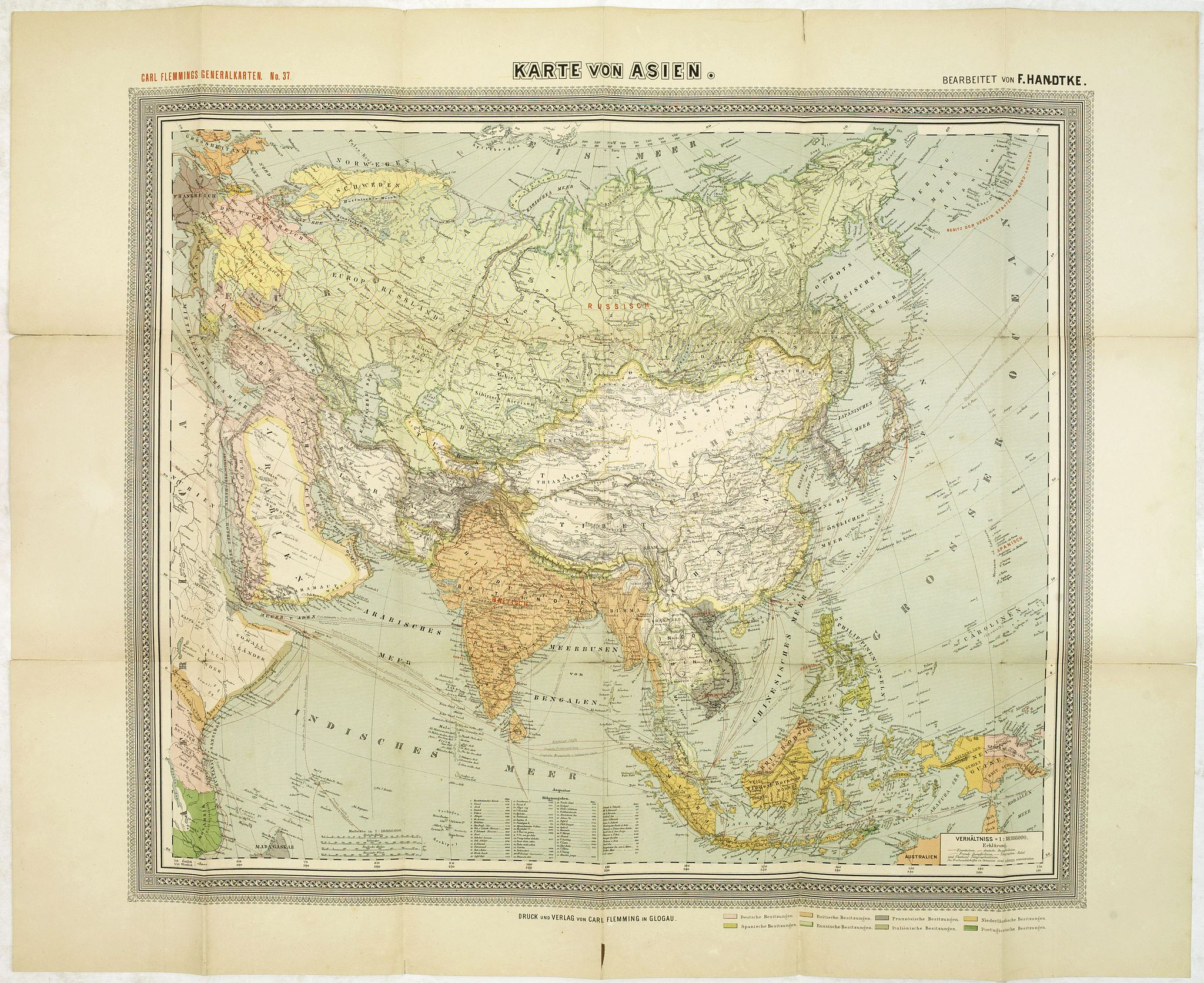 HANDTKE, F.H. -  General Karte von Asien. Entworfen und gezeichnet von F. Handtke.