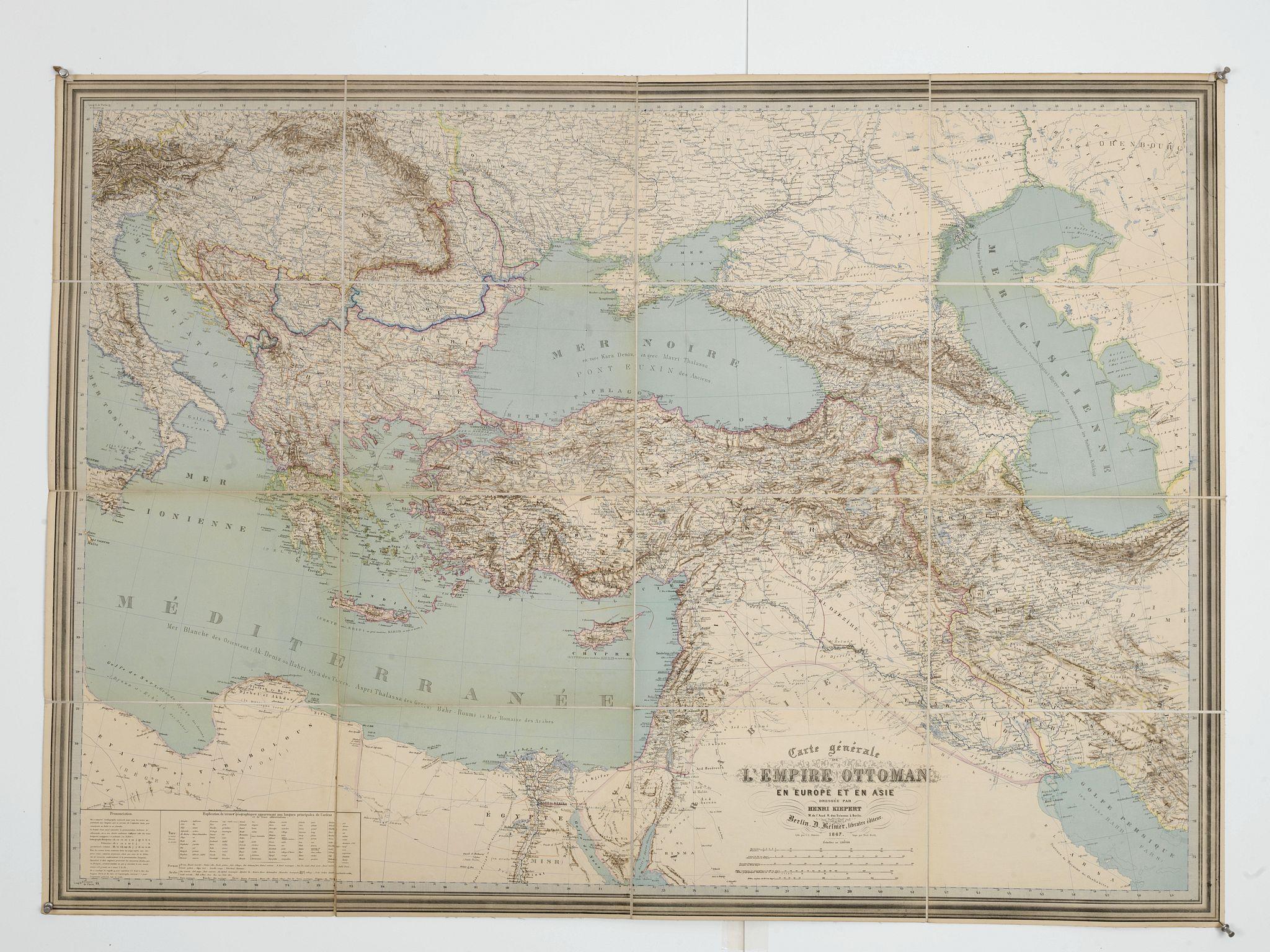 KIEPERT, H. -  Carte générale de L'Empire Ottoman en Europe et en Asie dressée par Henri Kiepert . . .