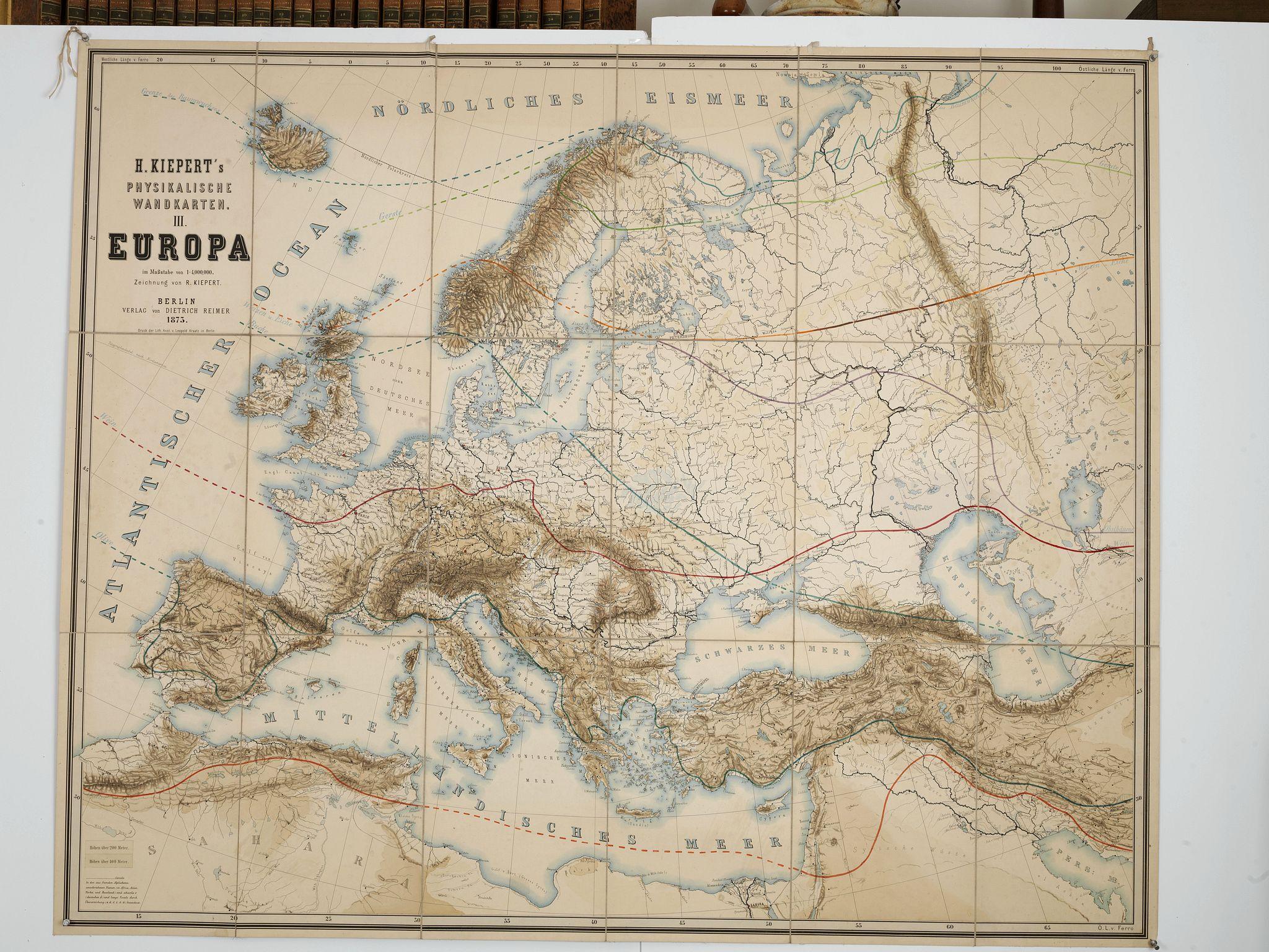 KIEPERT, H. -  Physikalische Wandkarten III. Europe. . .