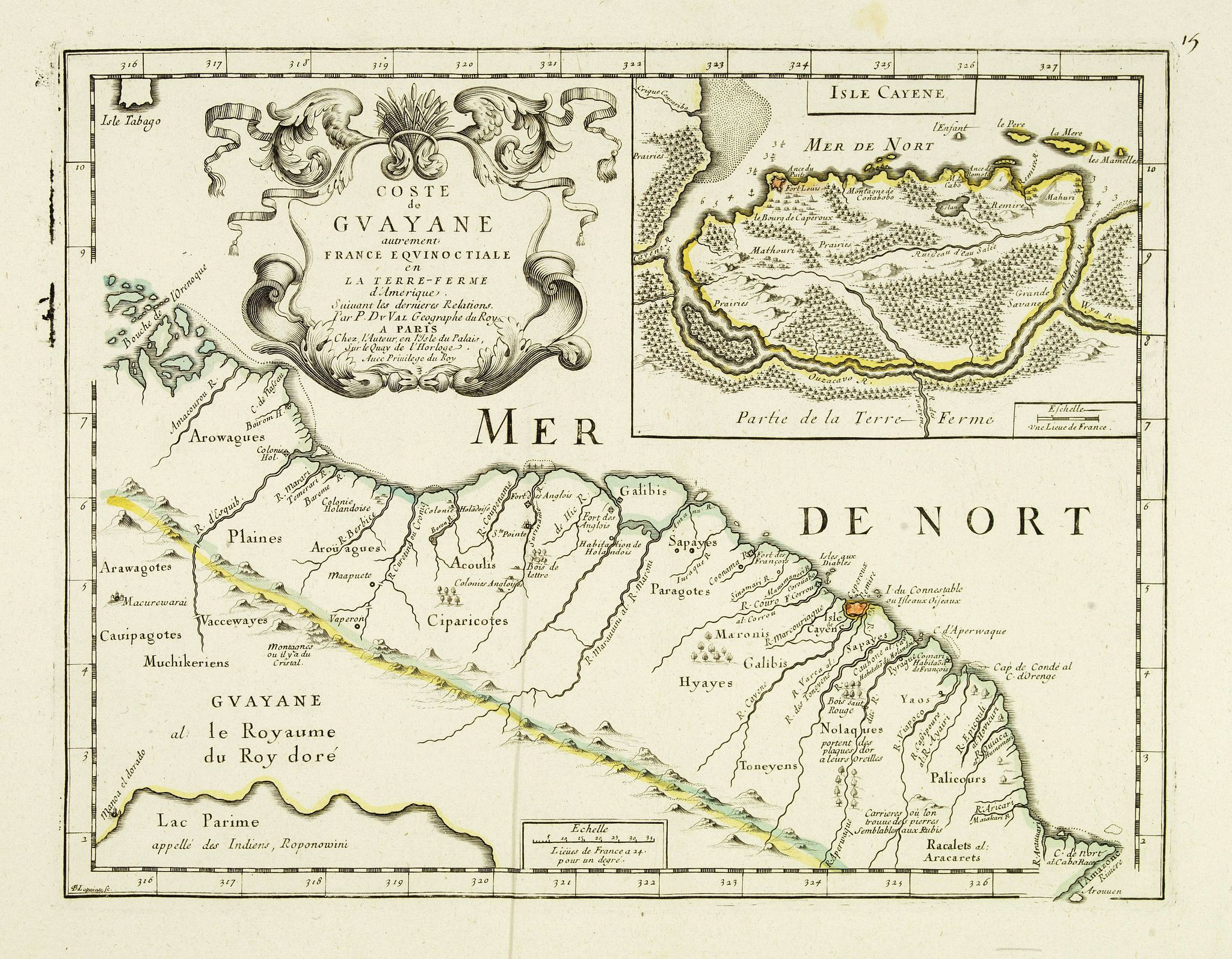 DU VAL, P. -  Coste de Guayane autrement Franc Equinoctale en la Terre-Ferme d