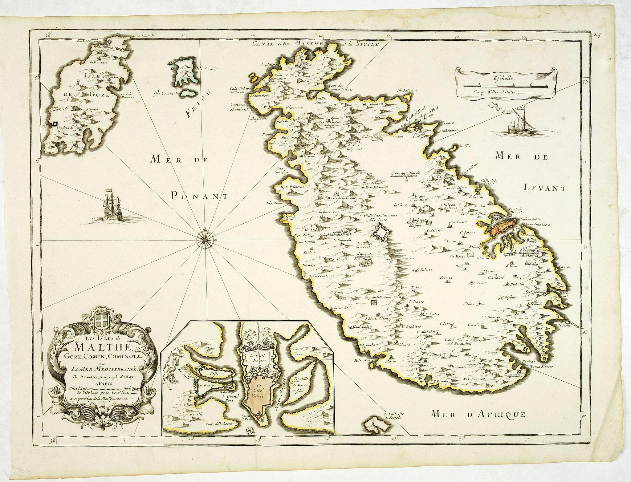 DU VAL, P. -  Les Isles de Malthe Goze, Comin, Cominot, & c. en La Mer Merditerrannée. . .