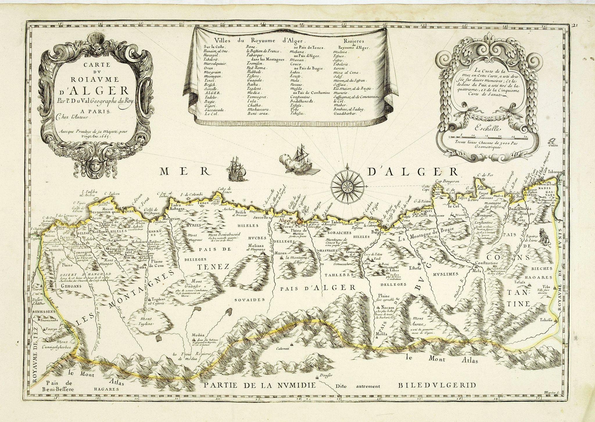 DU VAL, P. - Carte du Royaume d'Alger . . .