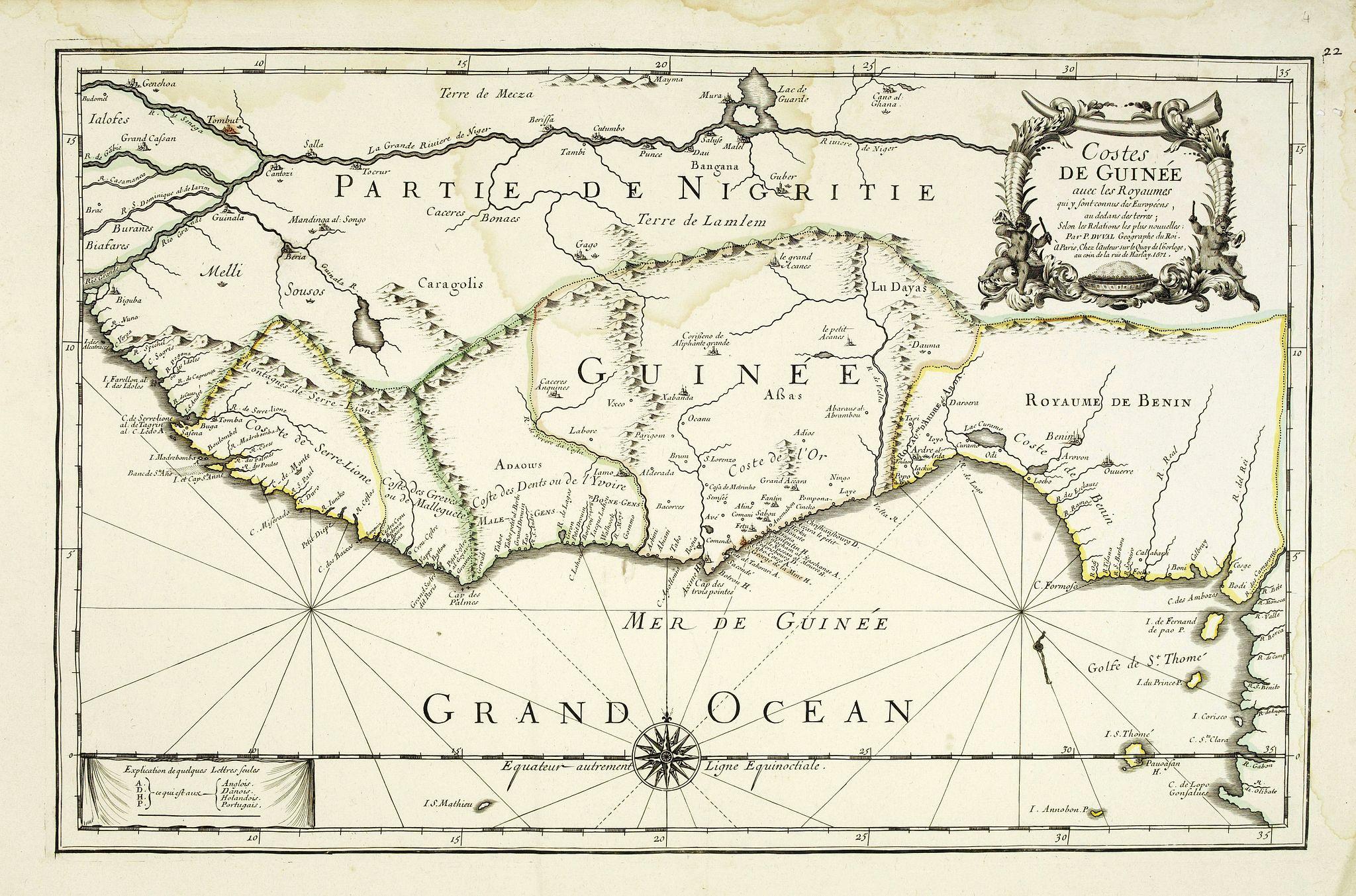 DU VAL, P. -  Costes de Guinée avec les Royaumes qui y sont connus des Européens, au-dedans des terres, selonn les relations les plus nouvelles . . .