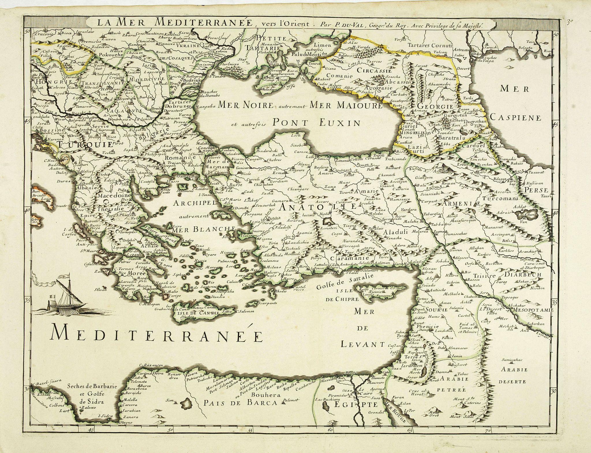 DU VAL, P. -  La Mer Mediterrannée vers l'Orient . . .