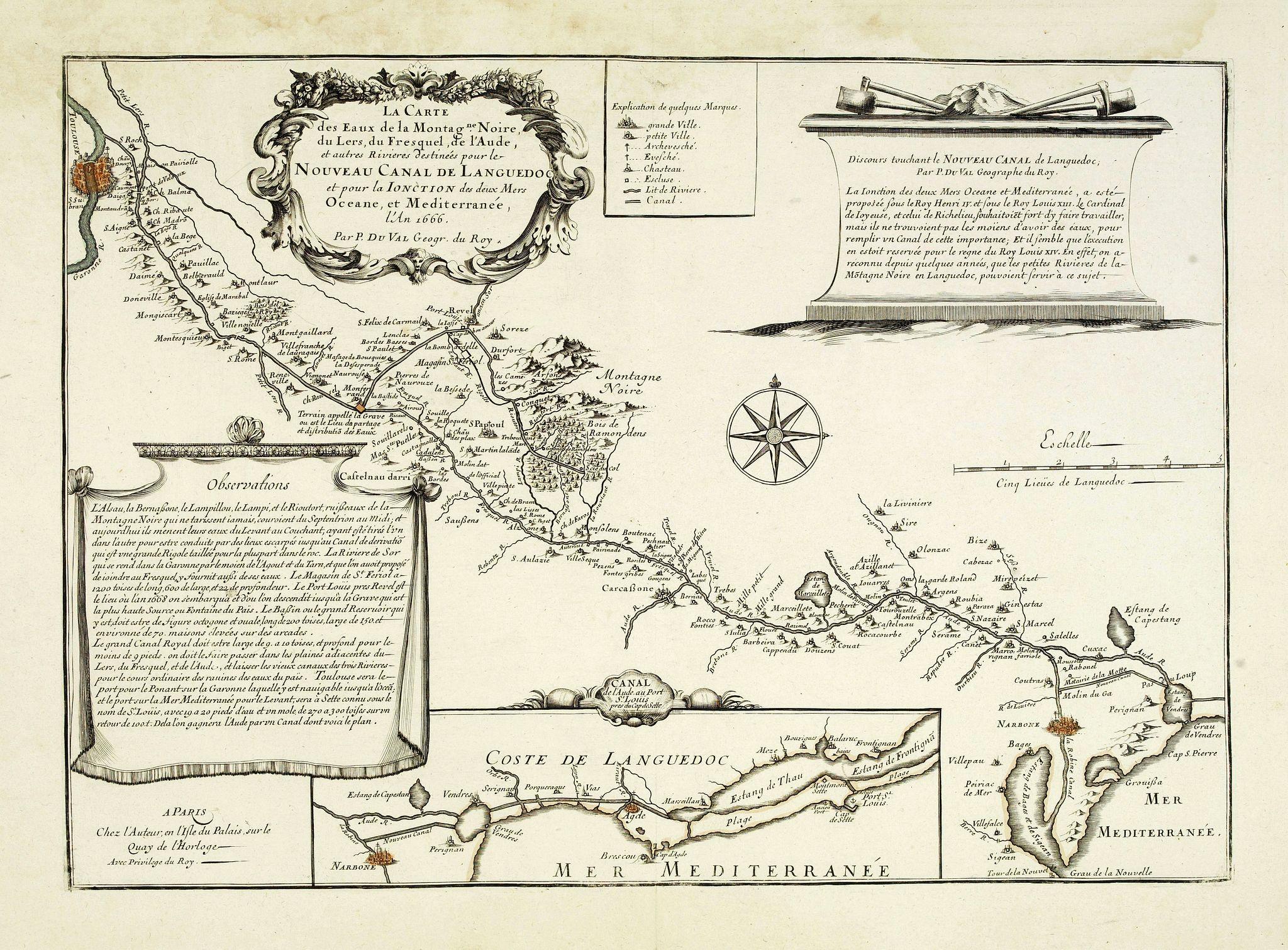 DU VAL, P. -  La carte des Eaux de la Montagne Noire di Mers, du Fresquel de l'Aube et autres rivières destinées pour le Nouveau canal de Languedoc . . .