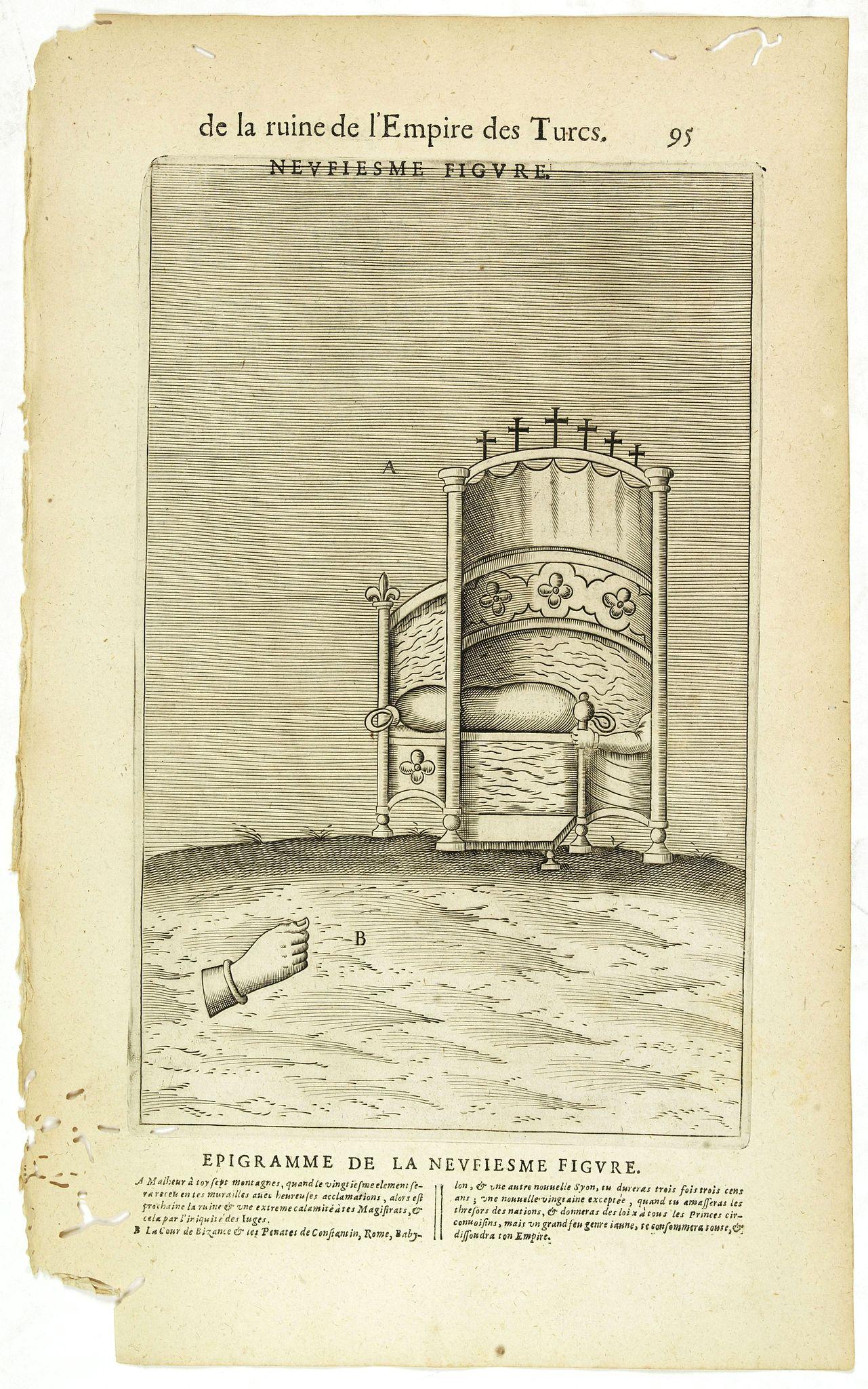 NICOLAS DE NICOLAY, Thomas Artus (sieur d'Embry). -  De la Ruine de l'Empire des Turcs Neufiesme figure / Epigramme de la Neufiesmie figure. (95)