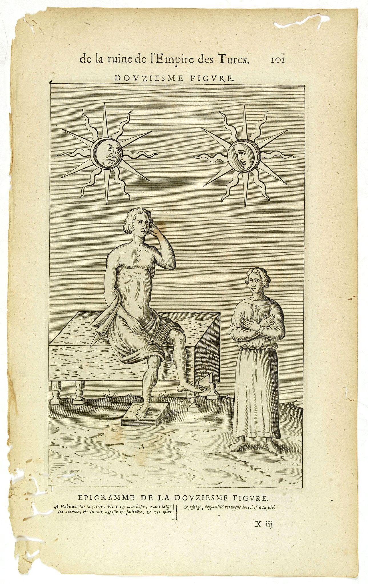NICOLAS DE NICOLAY, Thomas Artus (sieur d'Embry). -  De la Ruine de l'Empire des Turcs Douziesme figure  / Epigramme de la Douziesme figure. (101)