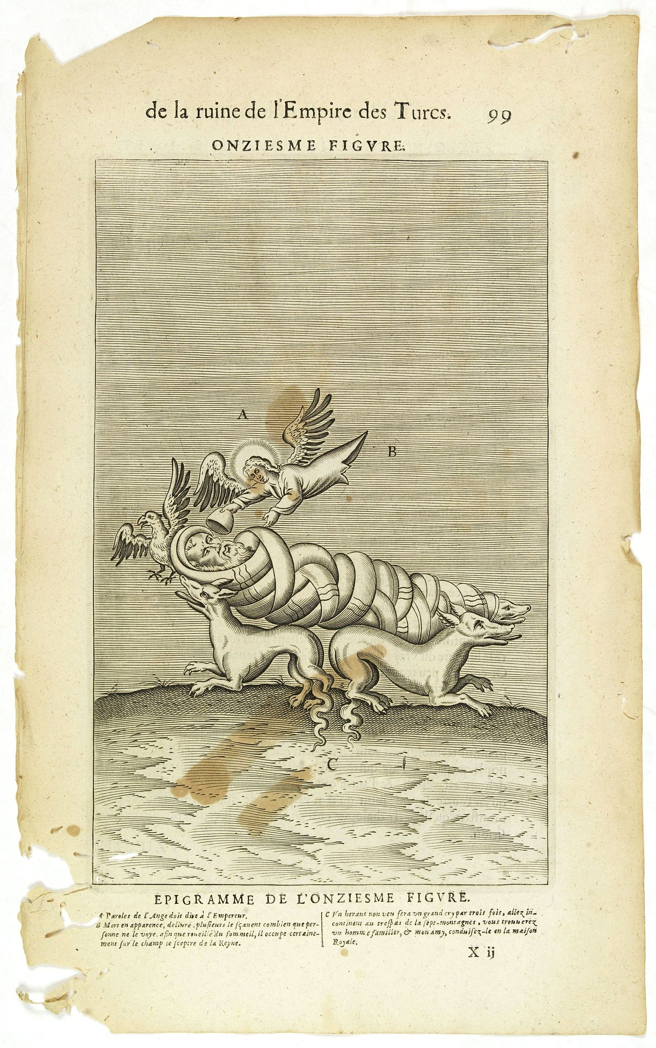 NICOLAS DE NICOLAY, Thomas Artus (sieur d'Embry). -  De la Ruine de l'Empire des Turcs Onziesme figure / Epigramme de la Onziesme figure. (99)