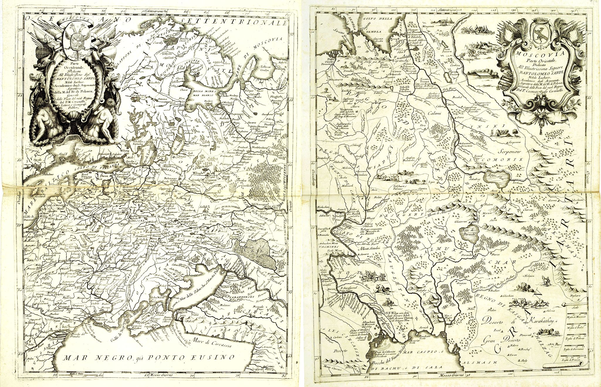 CORONELLI, V.M. -  Moscovia Parte Occidentale. . . (with) … parte orientale Delicata All Illustrissimo Signore Bartolomeo Sardi. . .