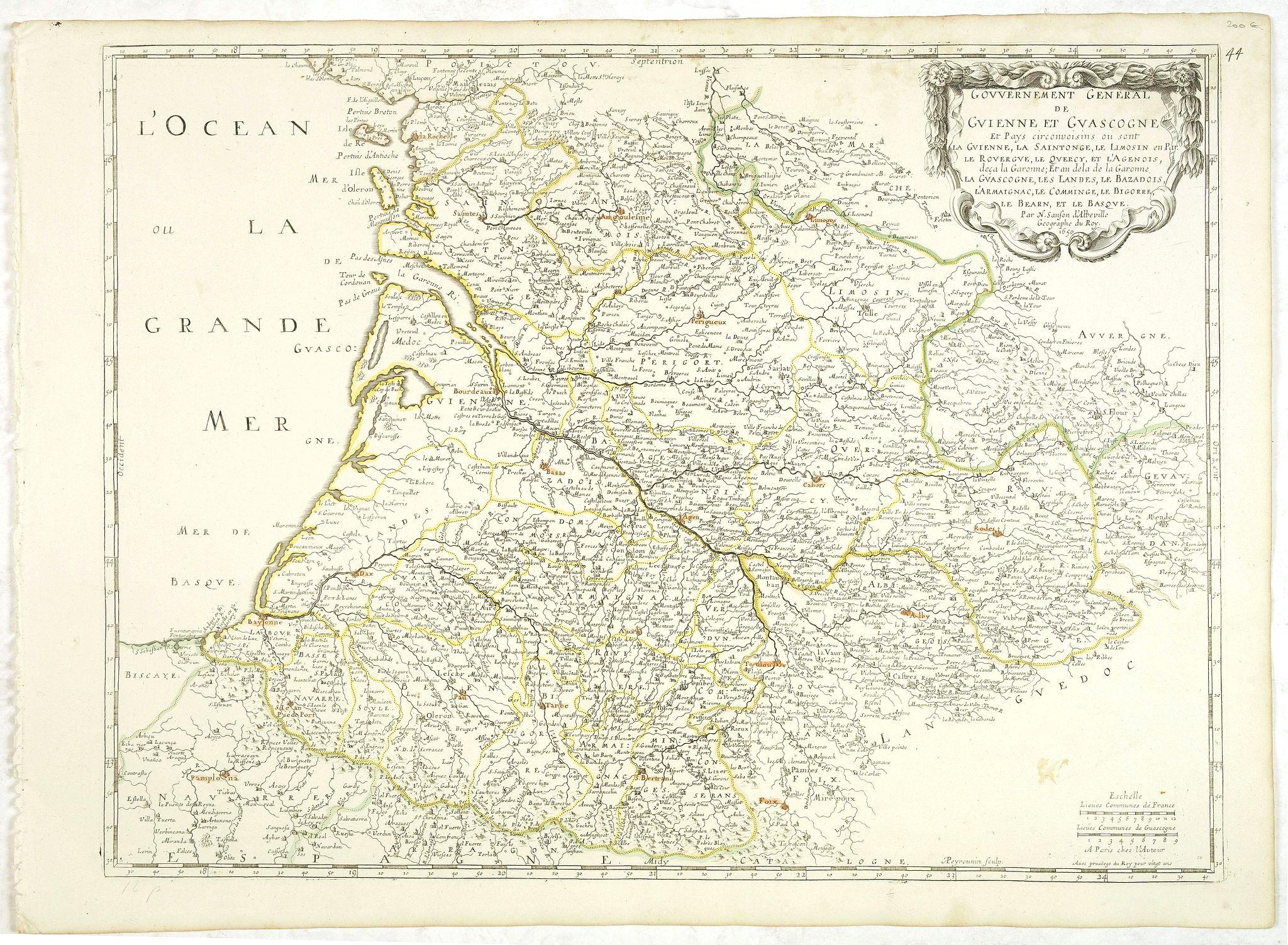 SANSON, N. / MARIETTE, P. -  Gouvernement General de Guienne et Gascogne . .