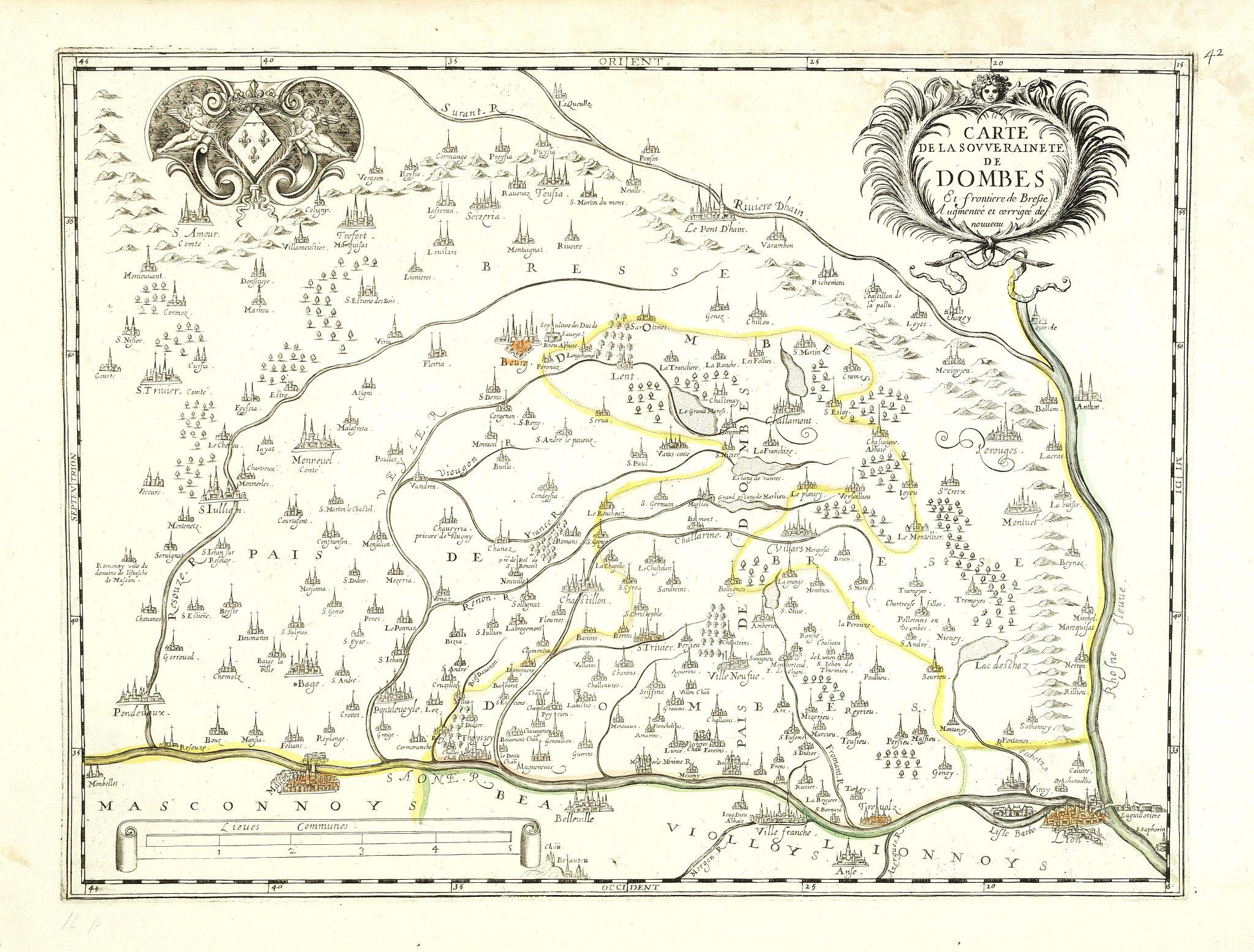 SANSON, N. / MARIETTE, P. -  Carte de la Souveraineté de Dombes Et frontière de Bresse Augmentée et corrigée de nouveau.