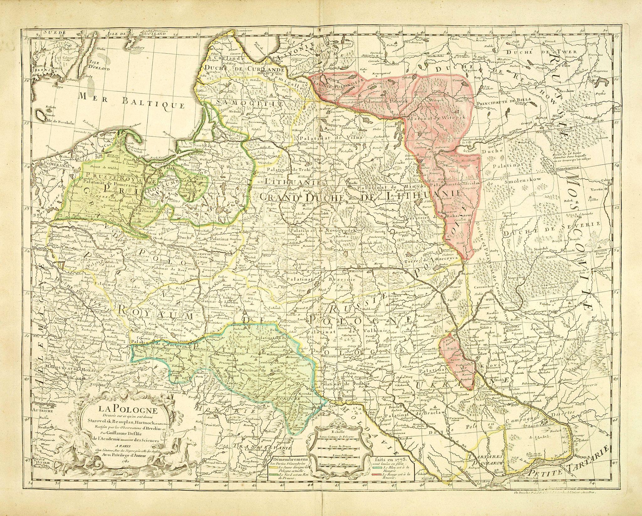 L'ISLE, G. de. / BUACHE, Ph. -  La Pologne Dressée sur ce qu'en ot donné Starovolsk, Beauplan, Hartnoch. . .