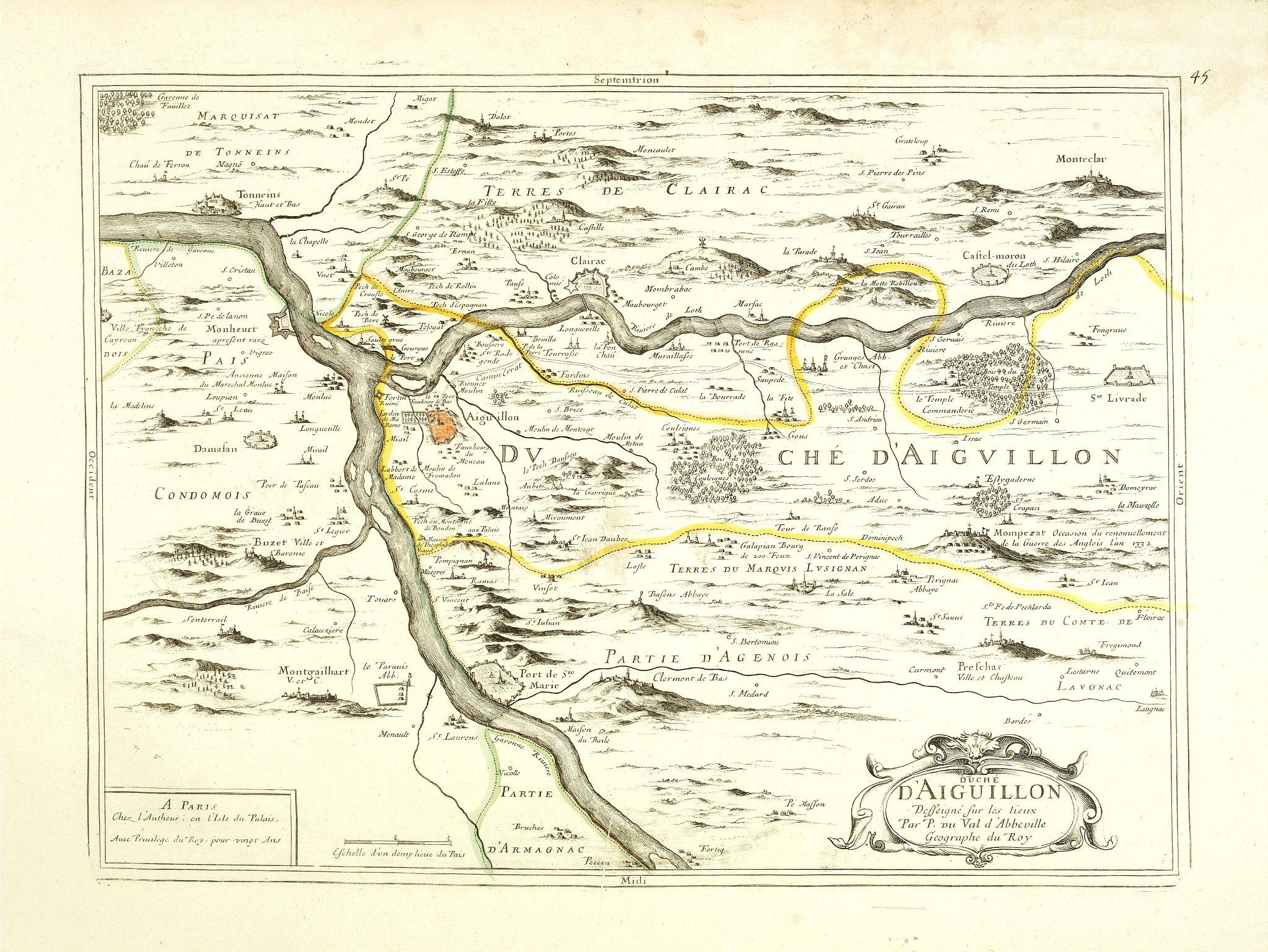 P. DU VAL -  Duché d'Aiguillon Desseigné sur les lieux par P. du Val d'Abbeville.