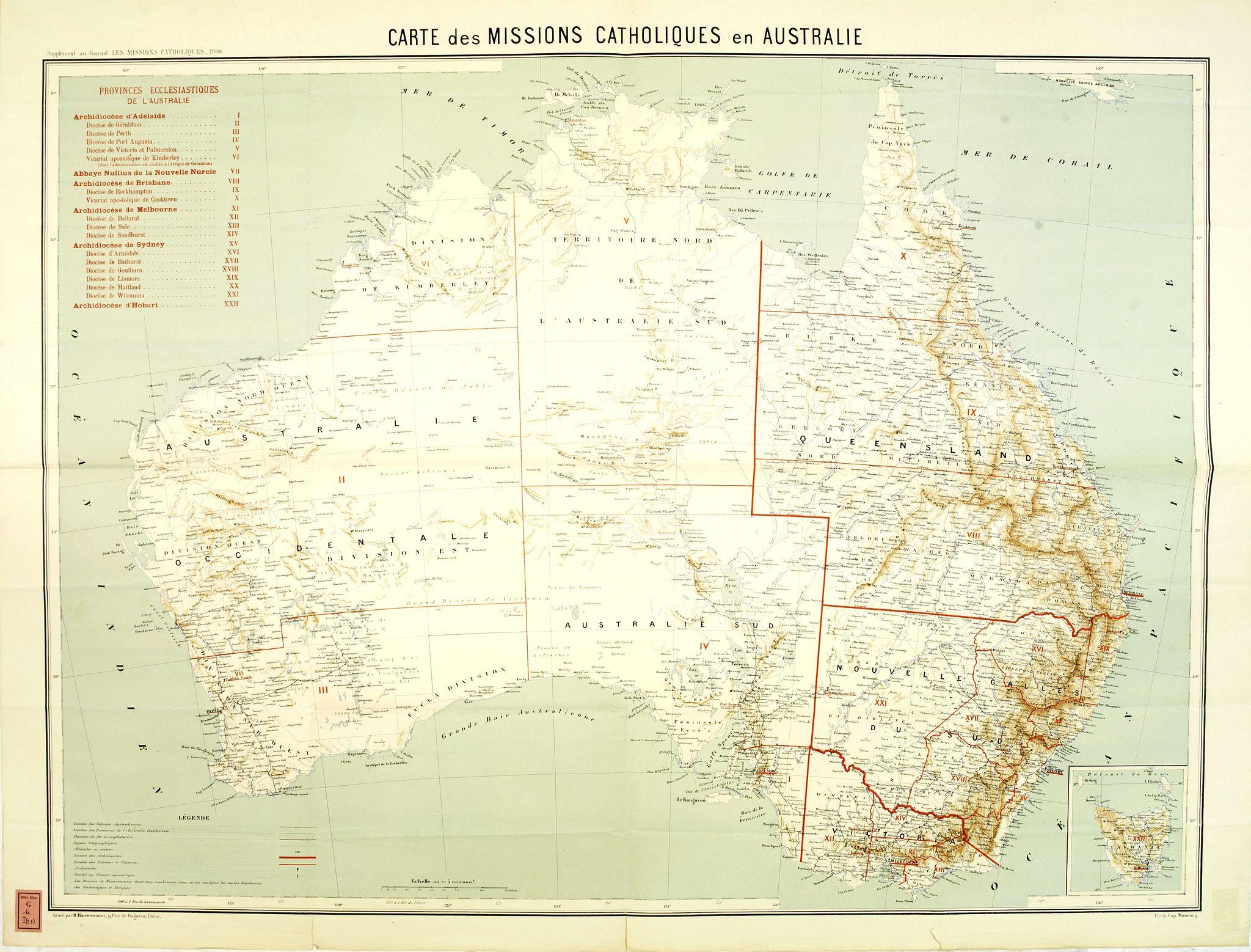 MISSIONS CATHOLIQUES -  Carte des missions Catholiques en Australie.