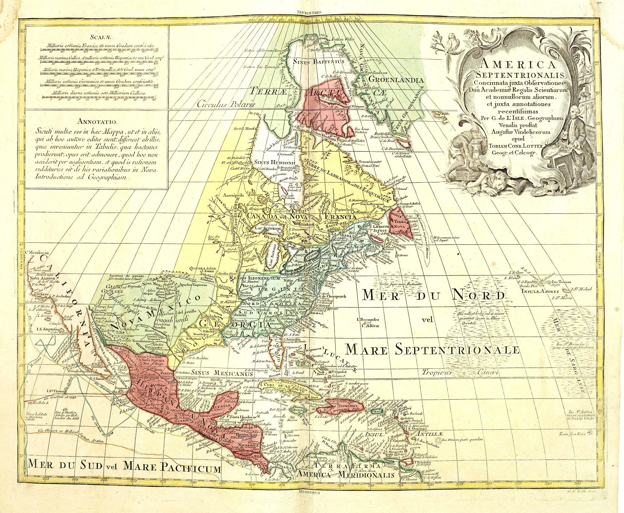 LOTTER, T.C. -  America Septentrionalis, Concinnata juxta Observationes..
