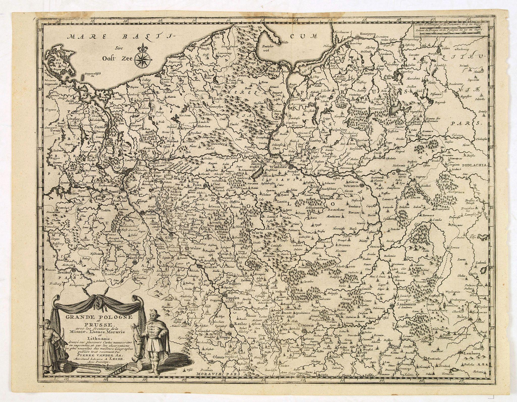 VAN DER AA, P. -  Grande Pologne et Prusse avec les frontières de la Misnie, Lusace, Moravie et Lithuanie