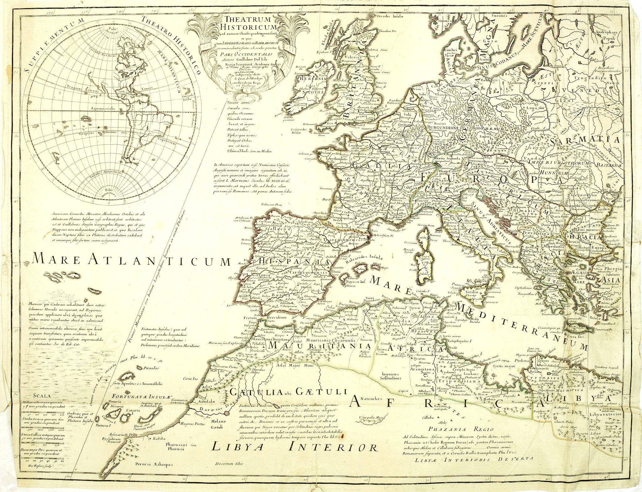 DE L'ISLE,G. -  Theatrum Historicum. . . Romani tu Barbarorum. . . Pars Occidentalis. . .